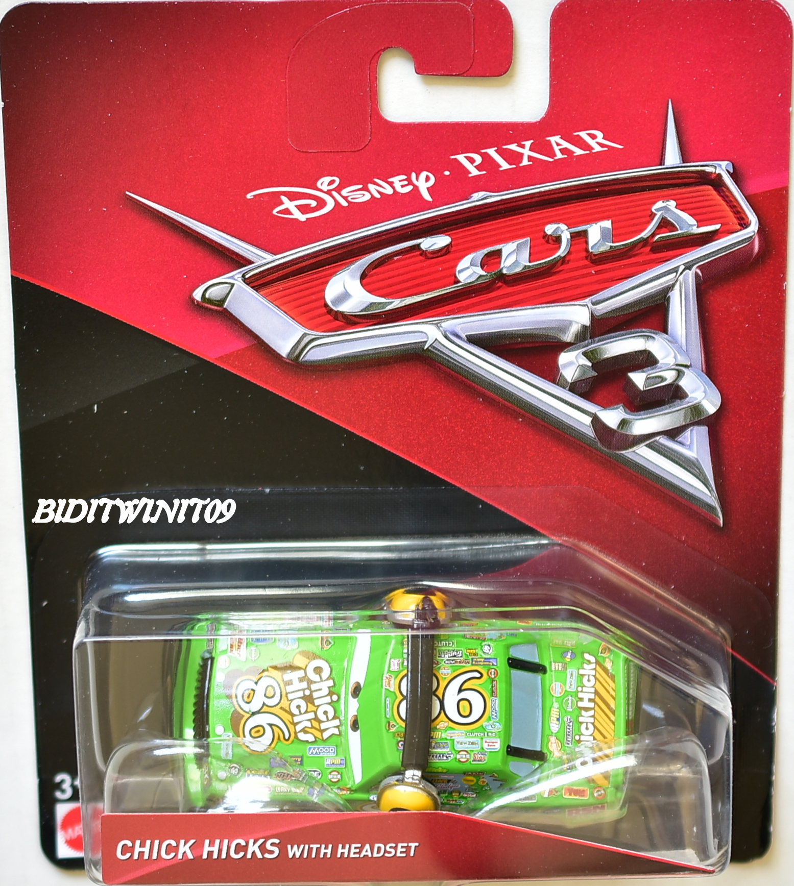 DISNEY PIXAR CARS 3 2017 CHICK HICK WITH HEADSET
