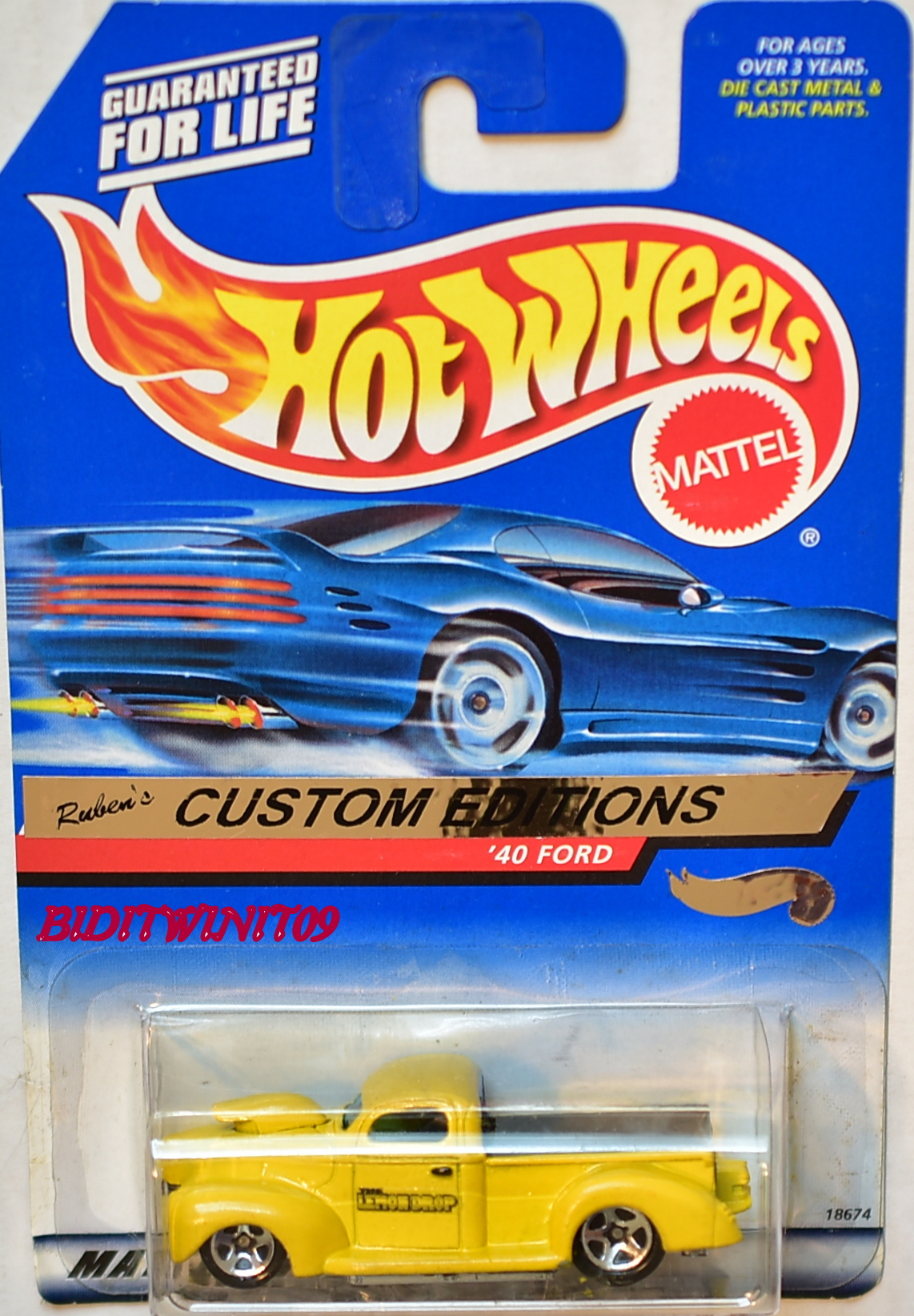 HOT WHEELS 1998 LEMON DROP RUBEN'C CUSTOM EDITIONS '40 FORD E+