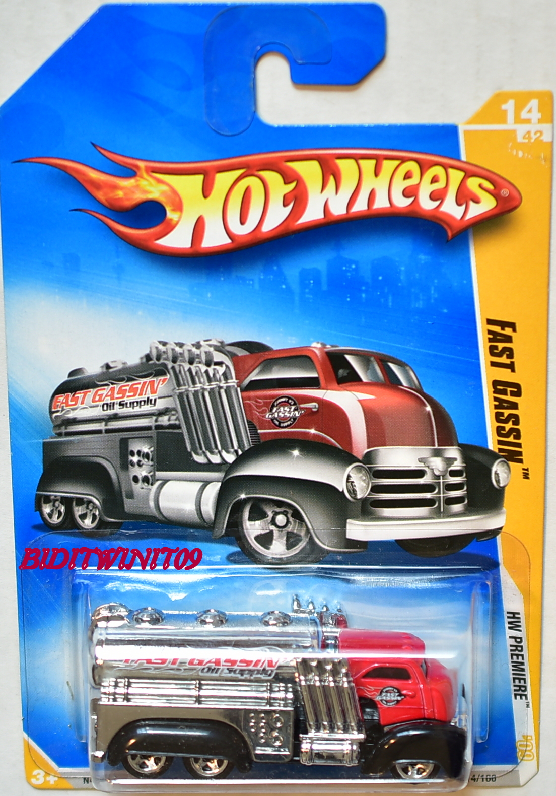 HOT WHEELS 2009 HW PREMIERE FAST GASSIN #14/42 RED E+