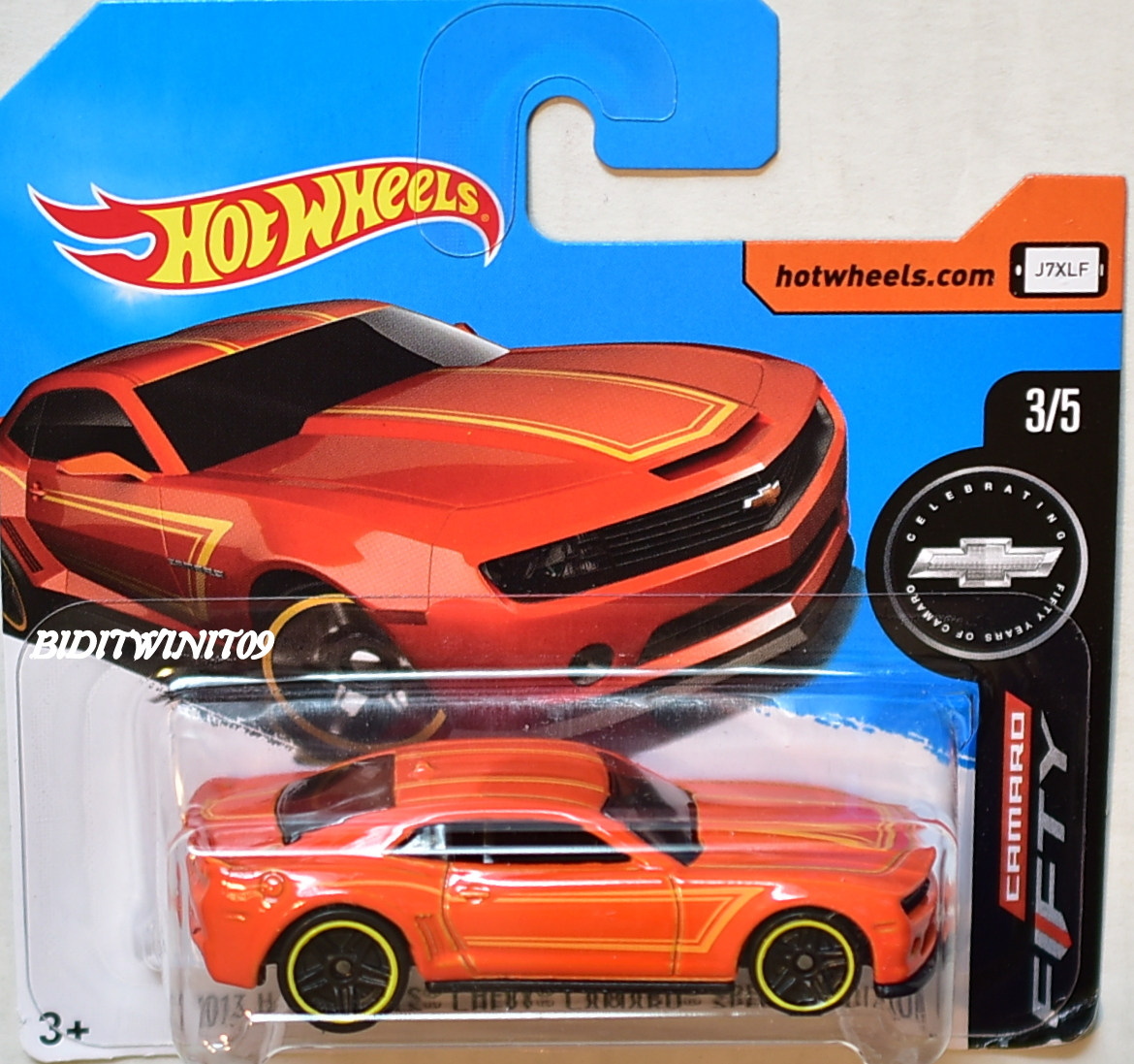 HOT WHEELS 2017 2013 HW CHEVY CAMARO SPECIAL EDITION SHORT CARD ORANGE