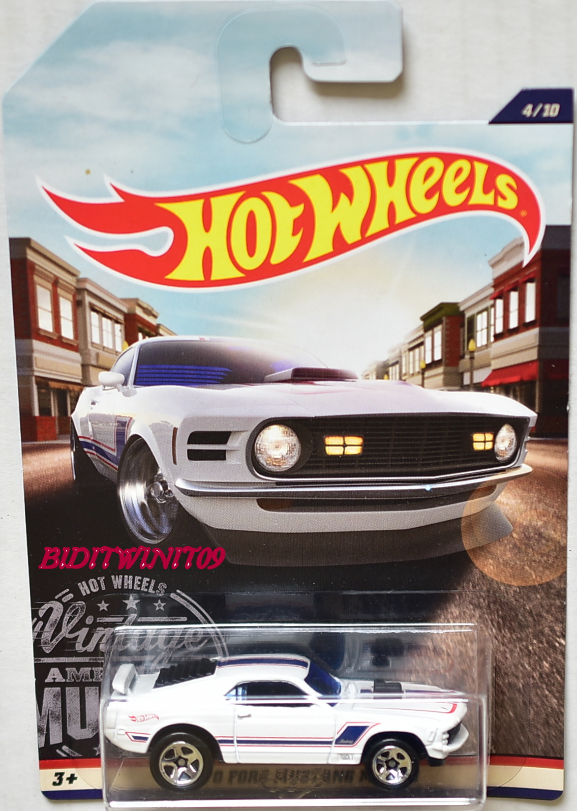 HOT WHEELS 2017 VINTAGE AMERICAN MUSCLE 1970 FORD MUSTANG MACH 1 WHITE