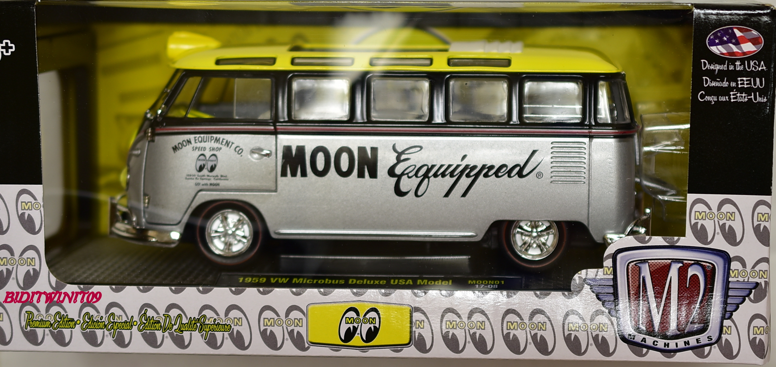M2 MACHINES SCALE 1:24 1959 VW MICROBUS DELUXE USA MODEL MOON EYES MOON01