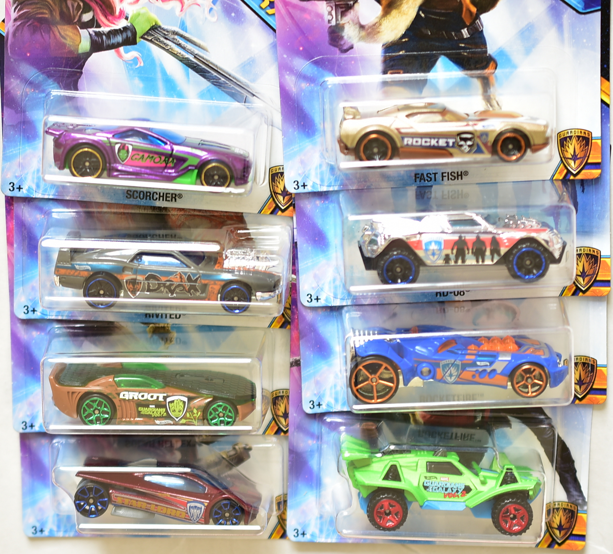 HOT WHEELS GUARDIANS of the GALAXY COMPLETE SET OF 8