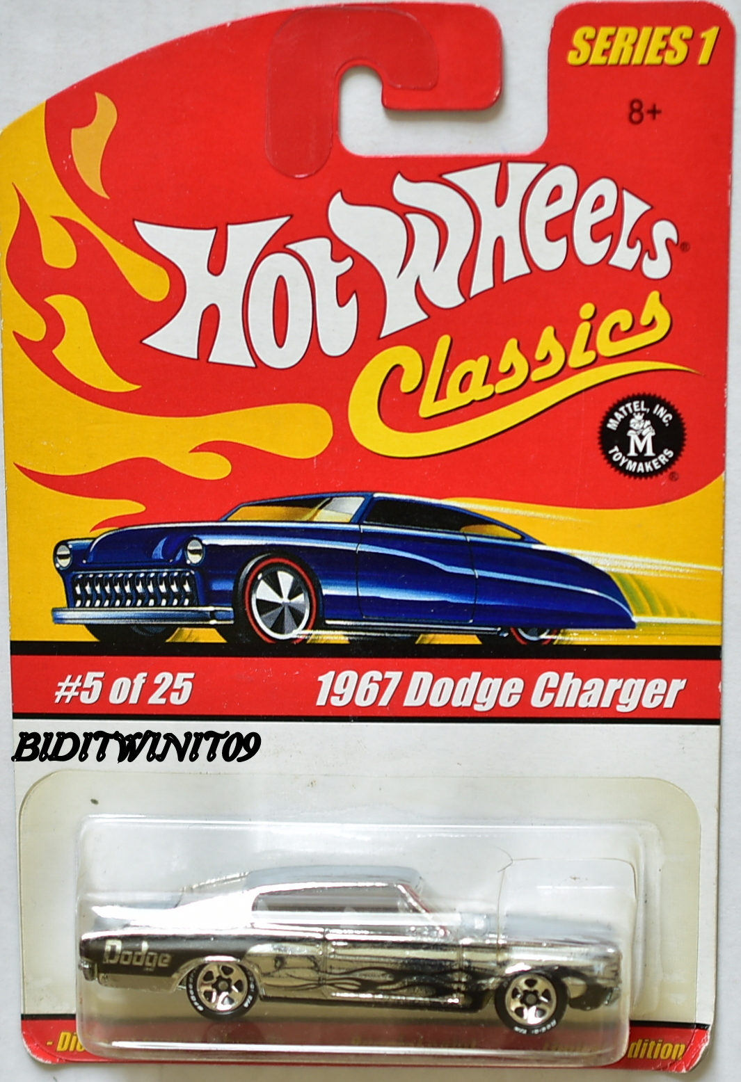 HOT WHEELS CLASSICS SERIES 1 #5/25 1967 DODGE CHARGER CHROME