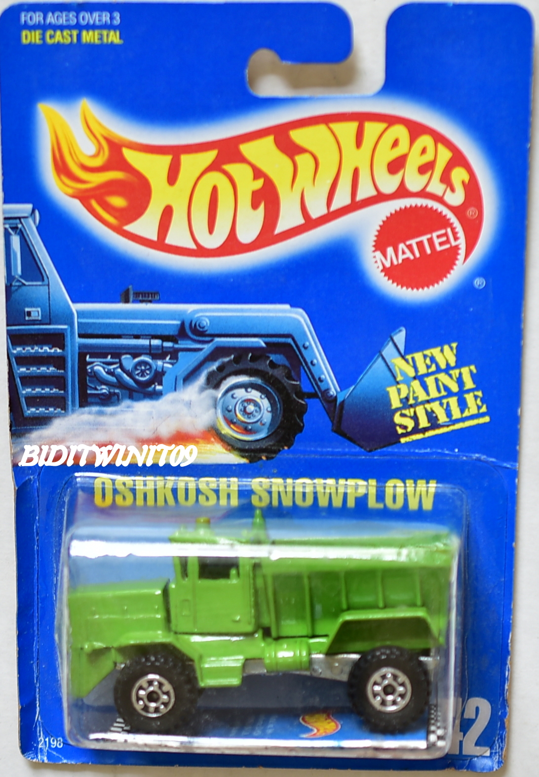 HOT WHEELS 1989 OSHKOSH SNOWPLOW ERROR NO PLOW #42 E+