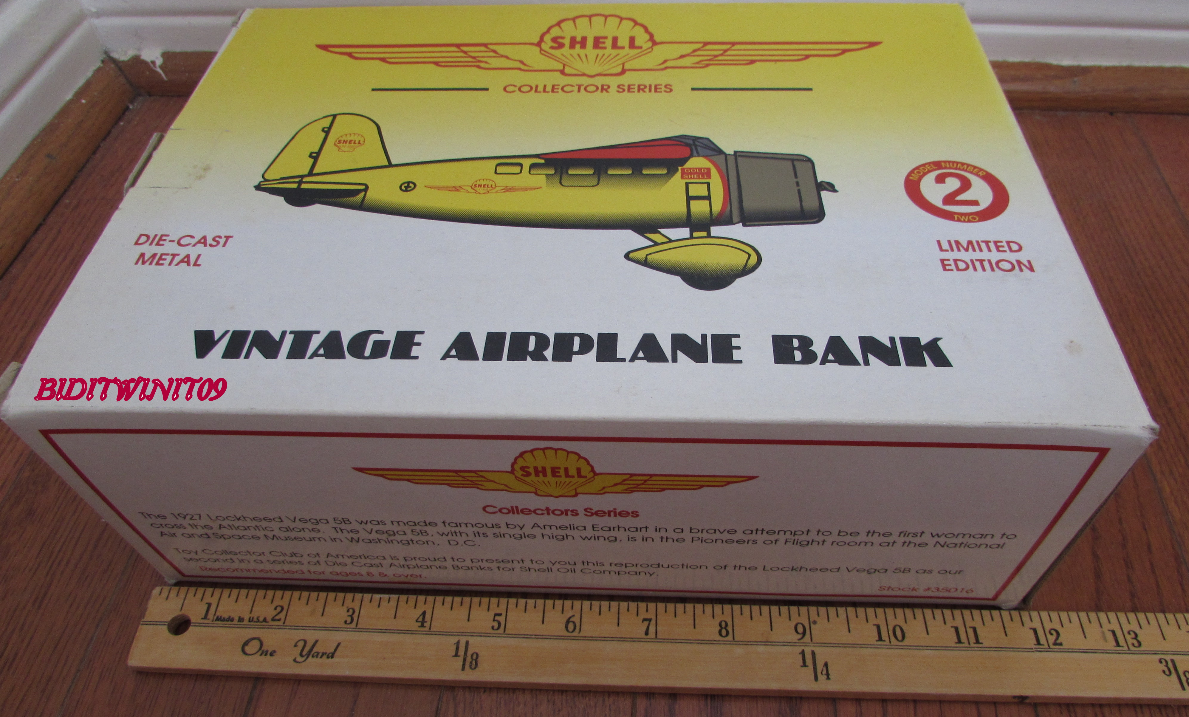SHELL LOCKHEED ORION VINTAGE AIRPLANE BANK #2 E+