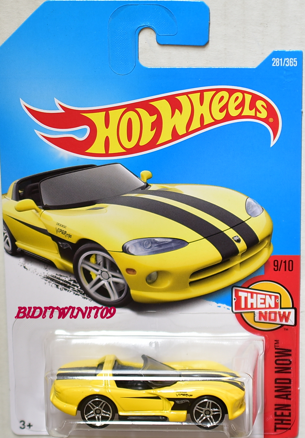 HOT WHEELS 2017 THEN AND NOW DODGE VIPER RT/10 #9/10 YELLOW