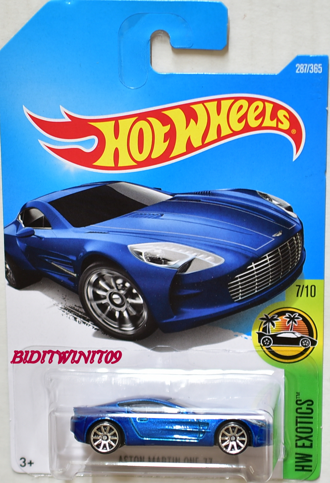 HOT WHEELS 2017 HW EXOTICS ASTON MARTIN ONE-77 BLUE
