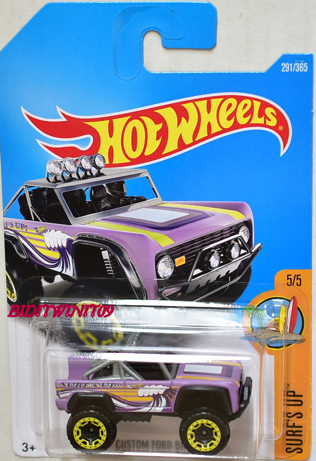HOT WHEELS 2017 SURF'S UP CUSTOM FORD BRONCO #5/5 PURPLE