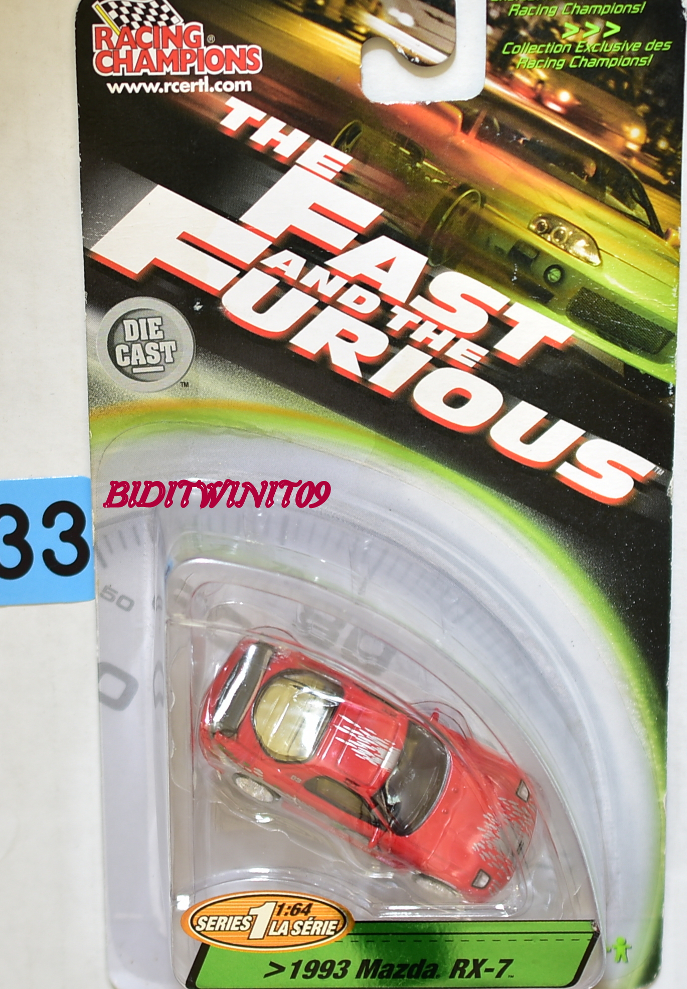 RACING CHAMPIONS THE FAST AND THE FURIOUS 1993 MAZDA RX-7 RED E+