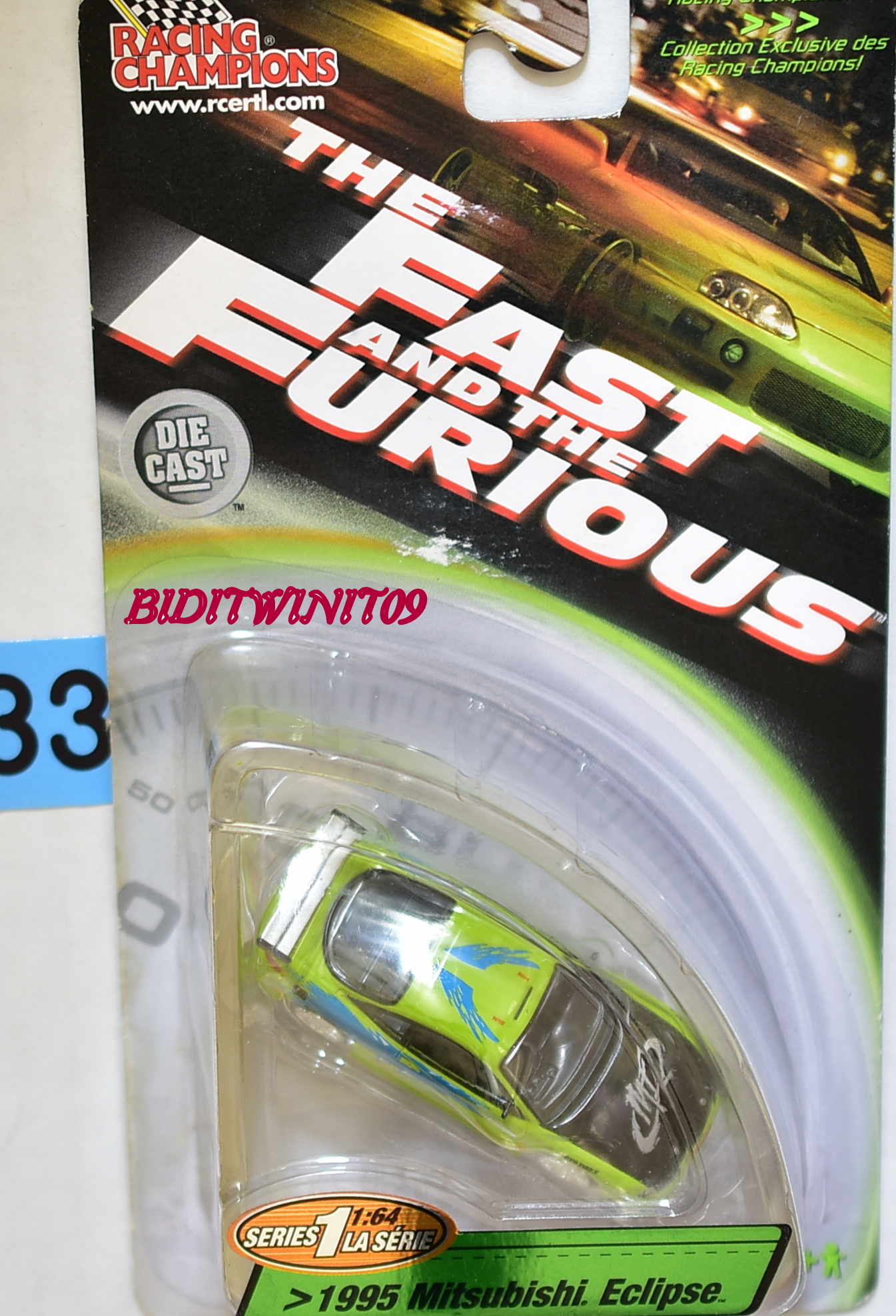 RACING CHAMPIONS THE FAST AND THE FURIOUS 1995 MITSUBISHI ECLIPSE E+