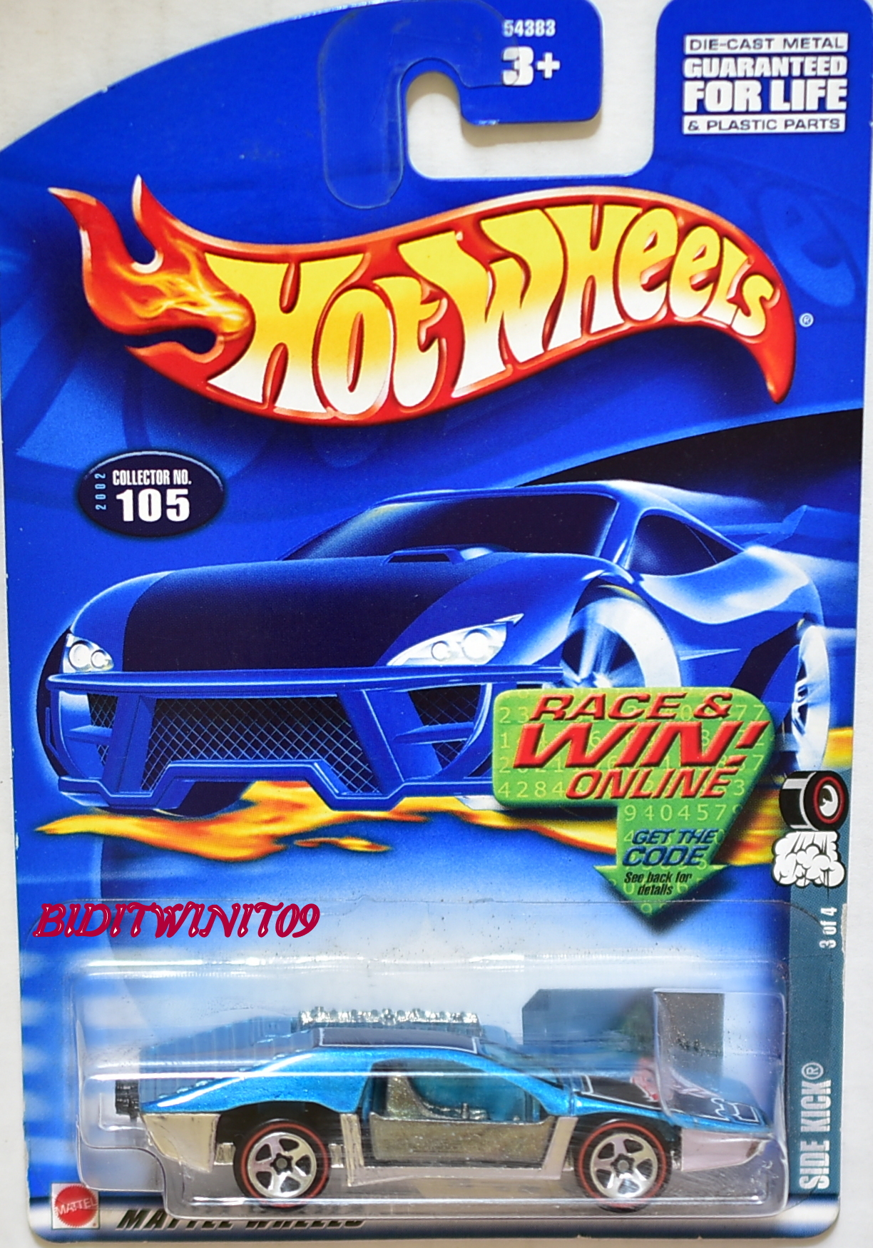HOT WHEELS 2002 SIDE KICK #105 BLUE