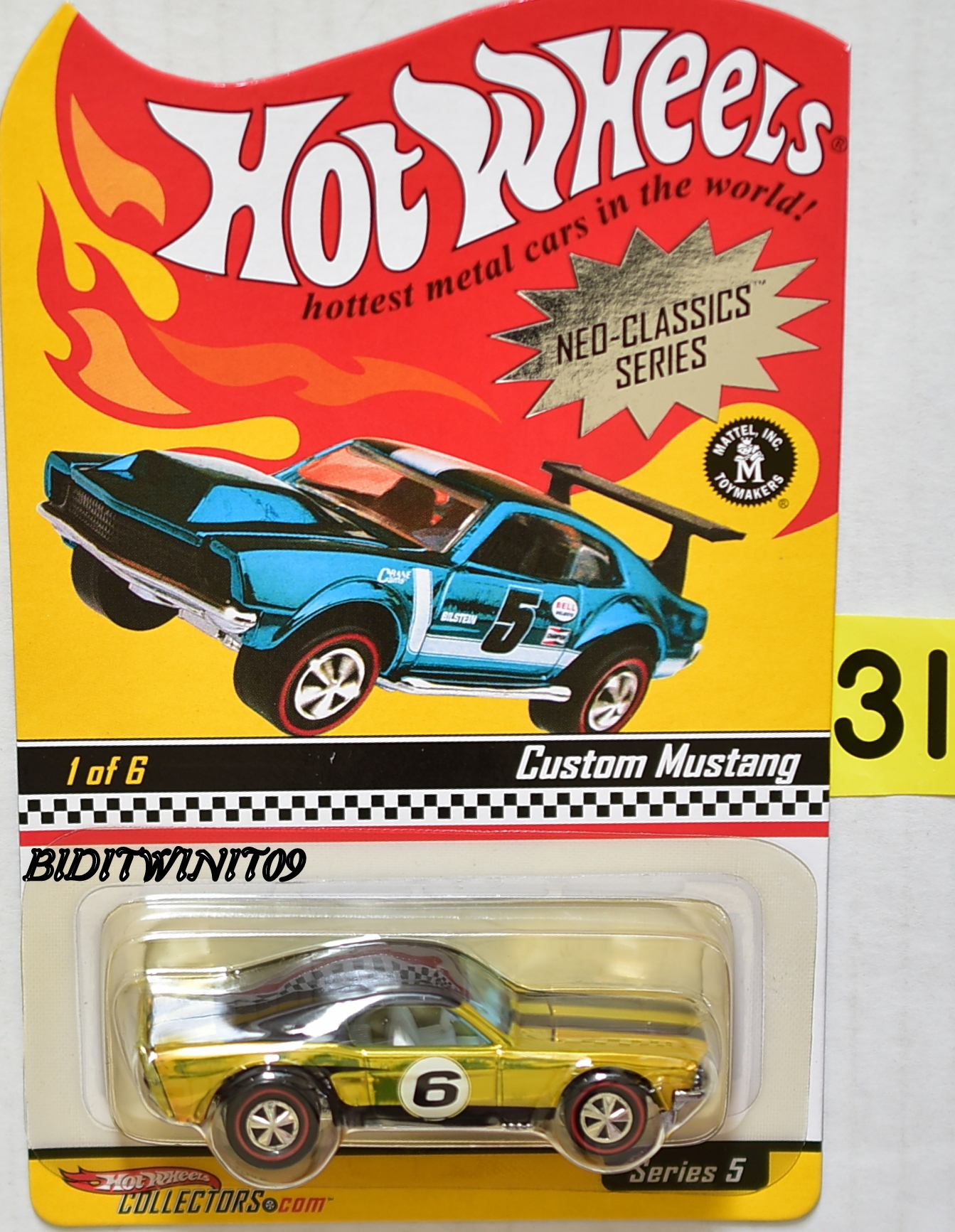HOT WHEELS 2006 NEO-CLASSICS SERIES #1/6 SERIES 5 CUSTOM MUSTANG E+