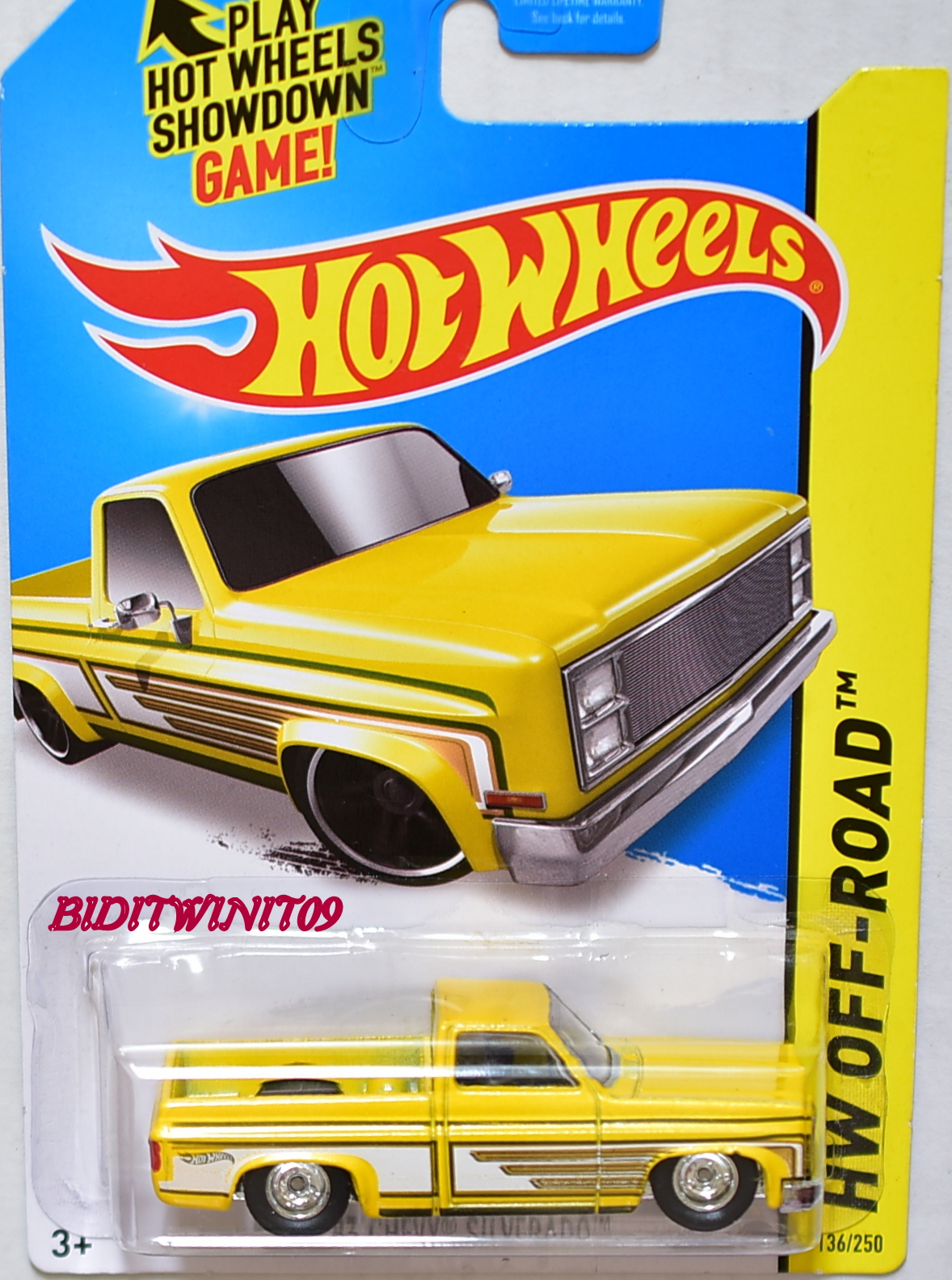 HOT WHEELS 2014 HW OFF-ROAD '83 CHEVY SILVERADO YELLOW CUSTOM MADE