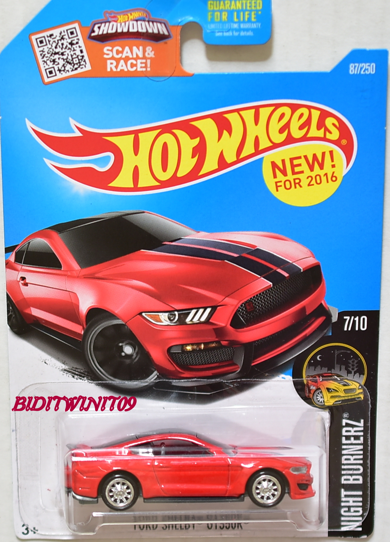 HOT WHEELS 2016 NIGHT BURNERZ FORD SHELBY GT350R CUSTOM MADE E+