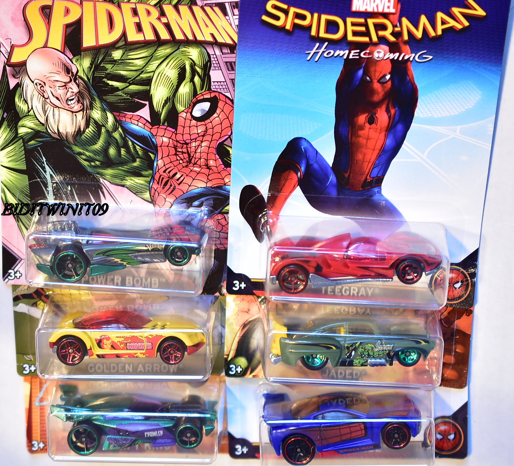HOT WHEELS MARVEL SPIDER-MAN 2017 SET OF 6 JADED DRIFT KING POWER BOMB E+