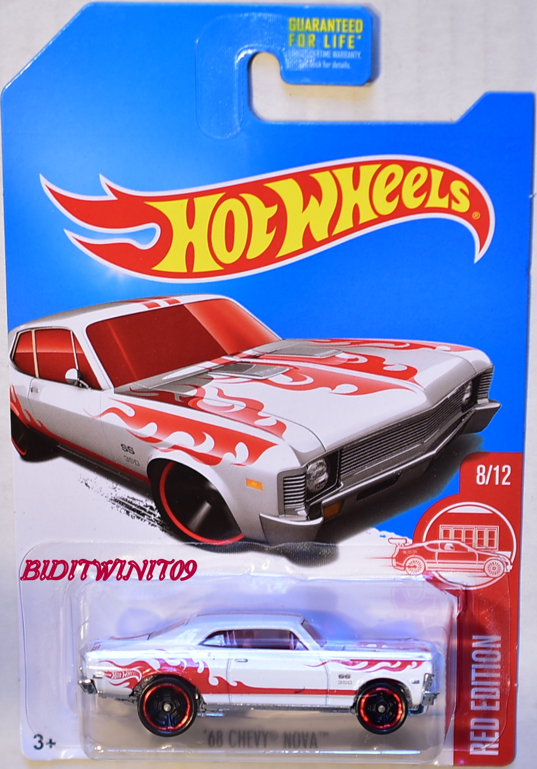 HOT WHEELS 2017 RED EDITION '68 CHEVY NOVA #8/12 TARGET EXCLUSIVE