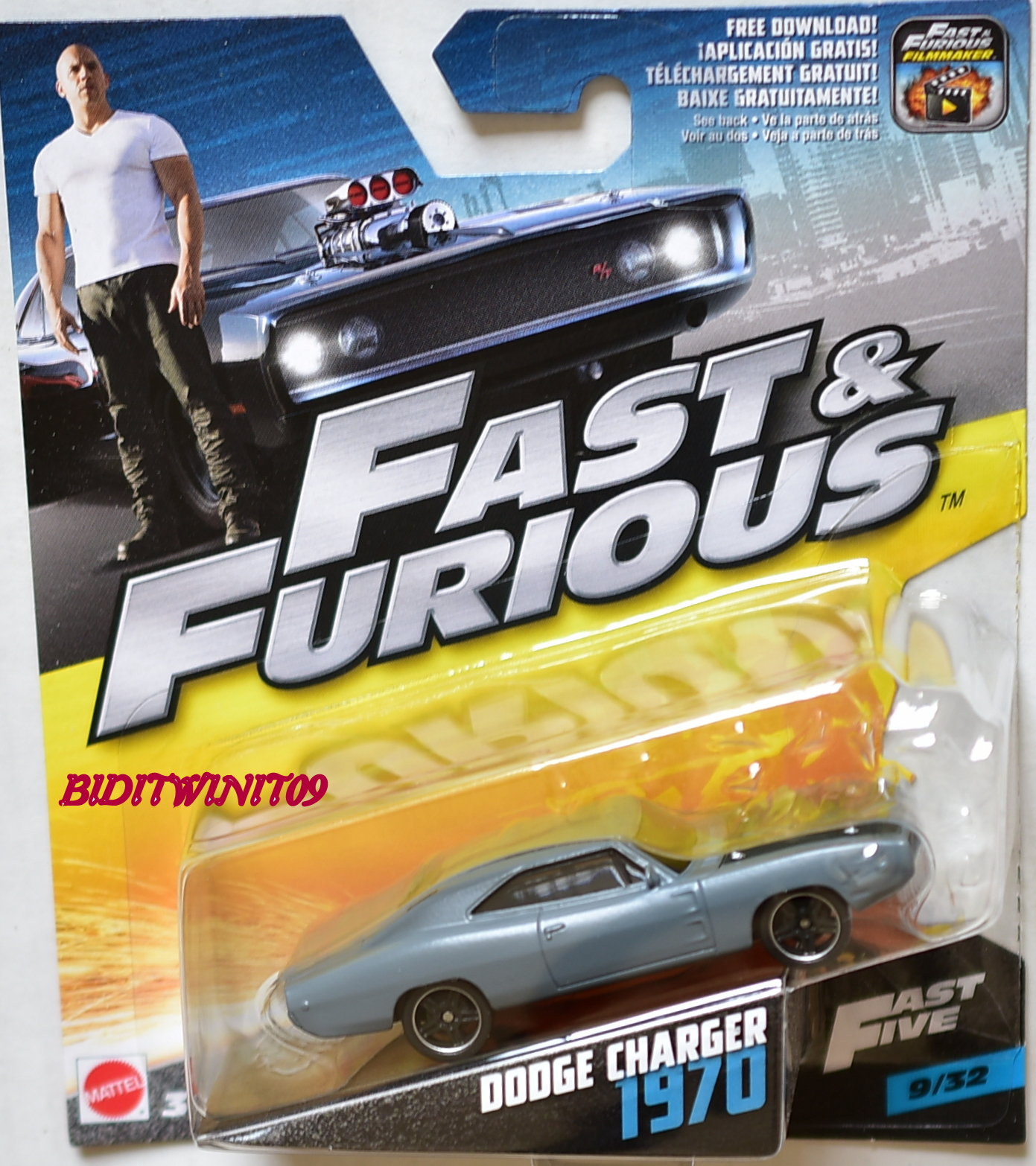 HOT WHEELS 2017 FAST & FURIOUS DODGE CHARGER 1970 SCALE 1:55 GREY