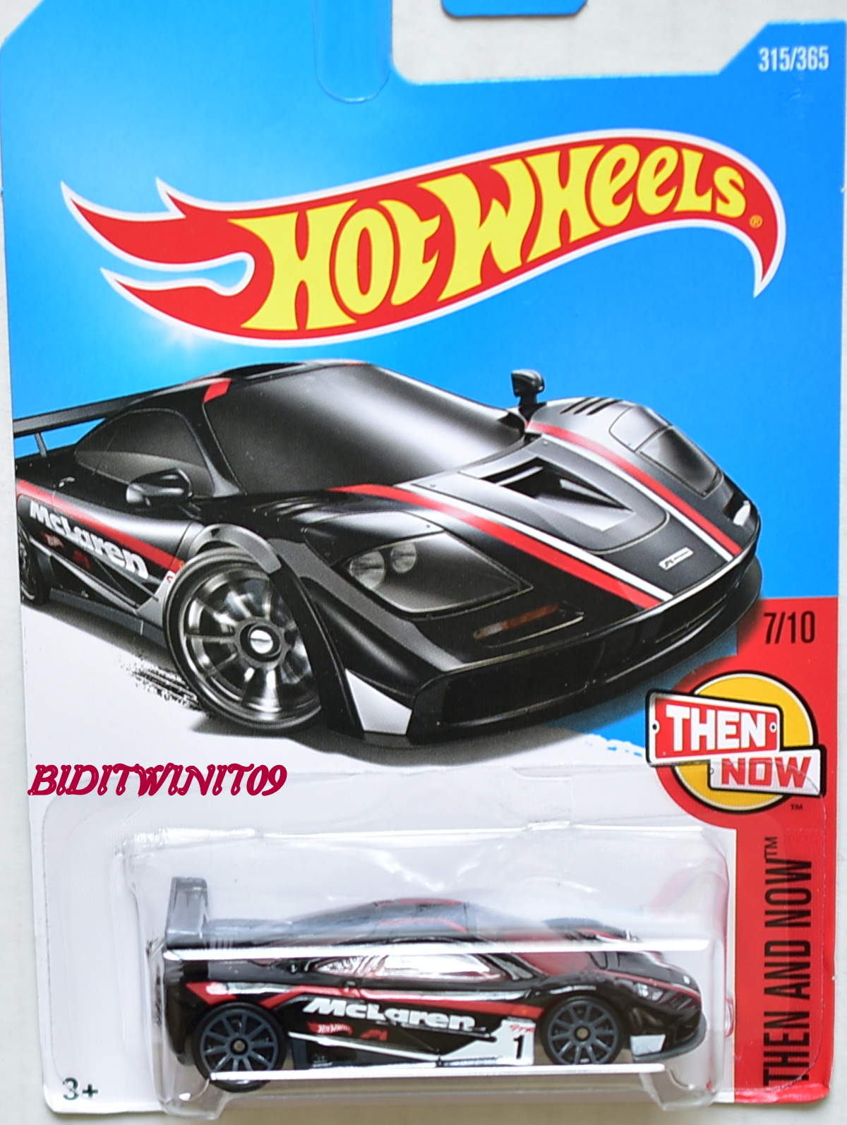 HOT WHEELS 2017 THEN AND NOW MCLAREN F1 GTR #7/10 BLACK