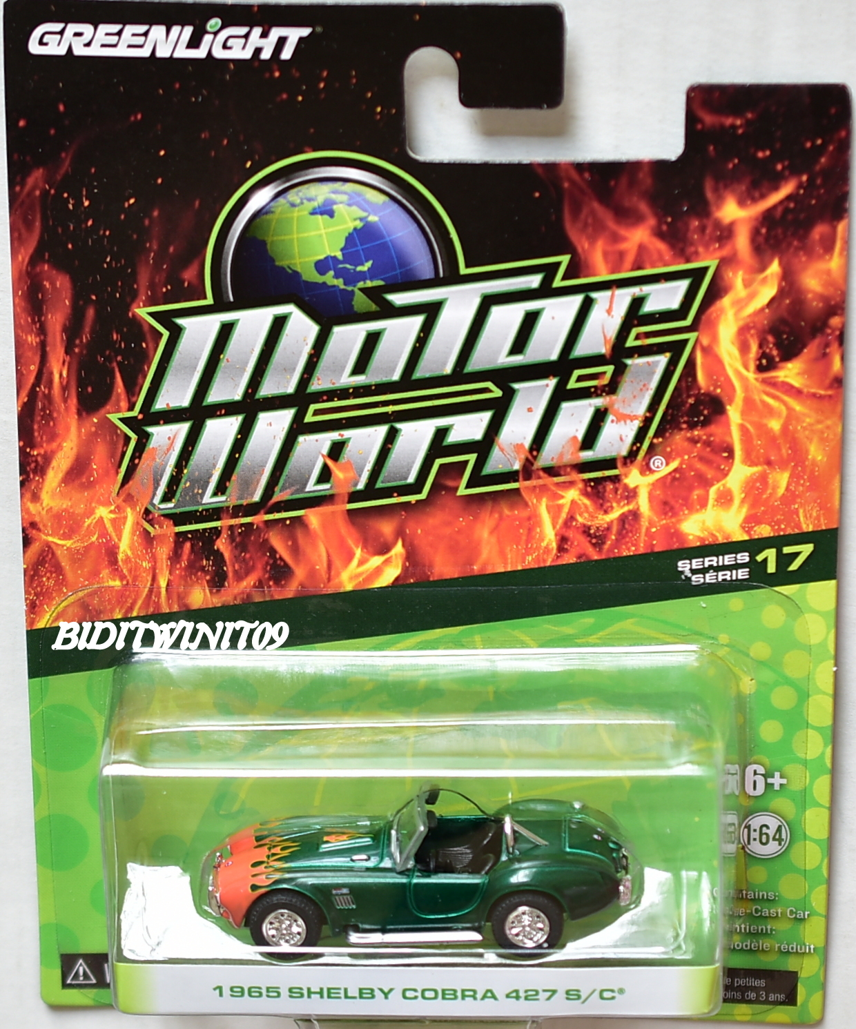 GREENLIGHT MOTOR WORLD SERIES 17 1965 SHELBY COBRA 427 S/C GREEN MACHINES E+