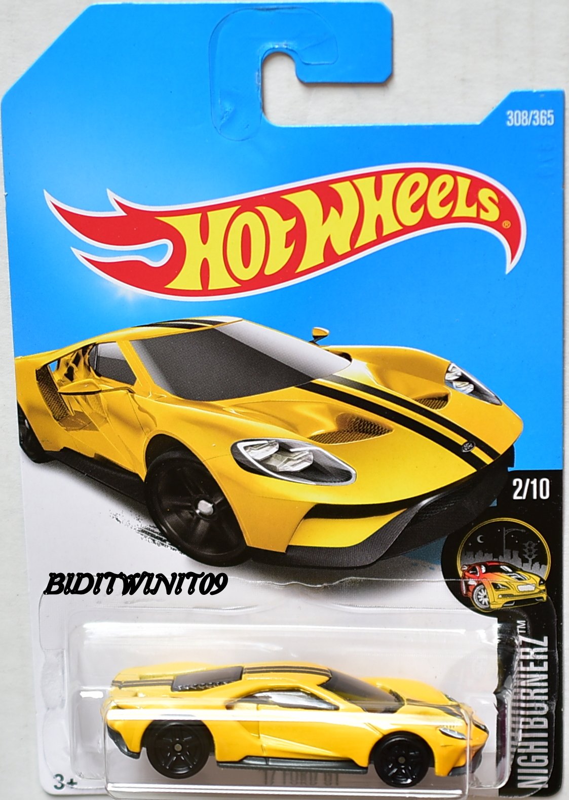 HOT WHEELS 2017 NIGHTBURNERZ '17 FORD GT #2/10 YELLOW