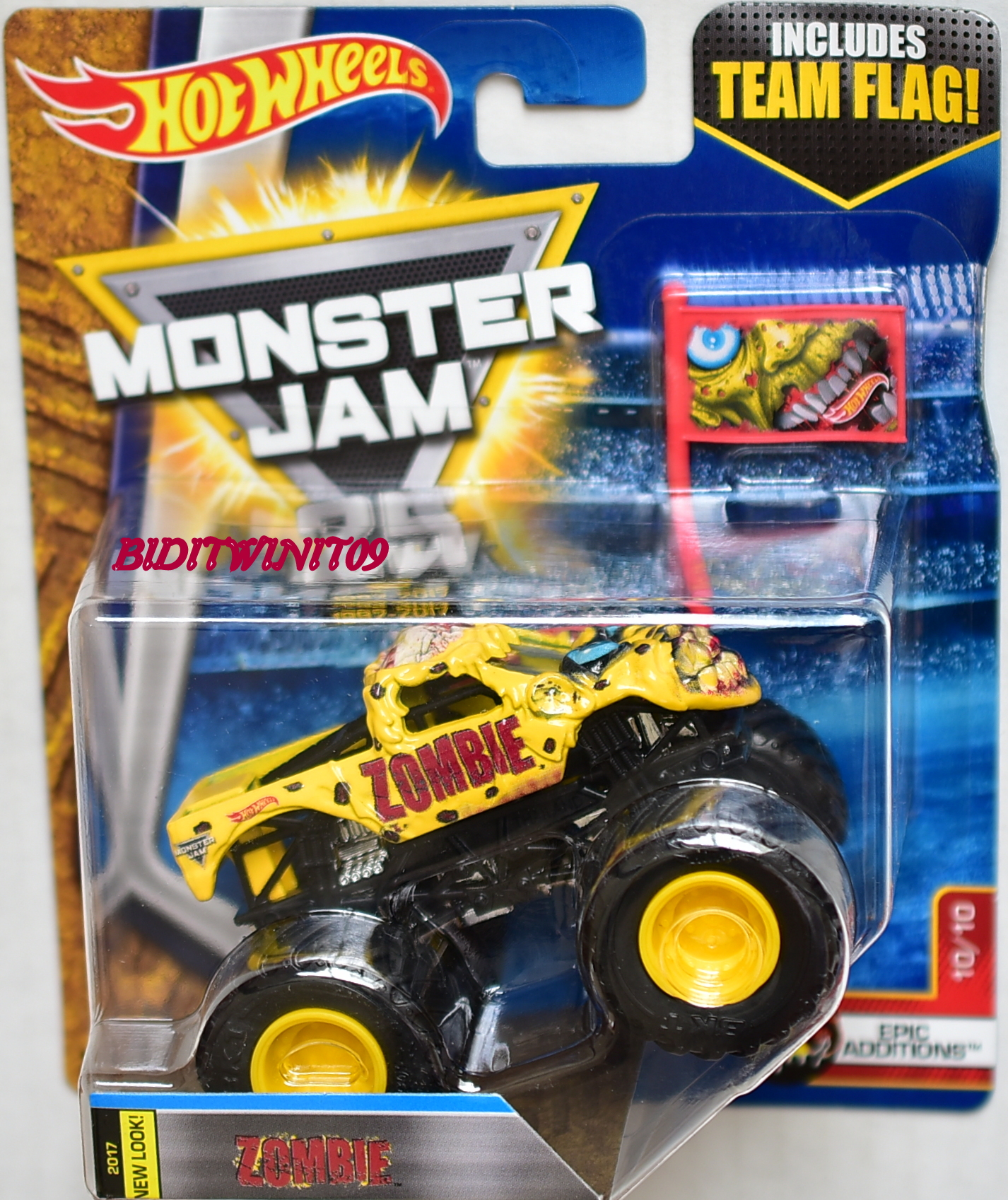 HOT WHEELS 2017 MONSTER JAM INCLUDES TEAM FLAG ZOMBIE - EPIC ADDITIONS