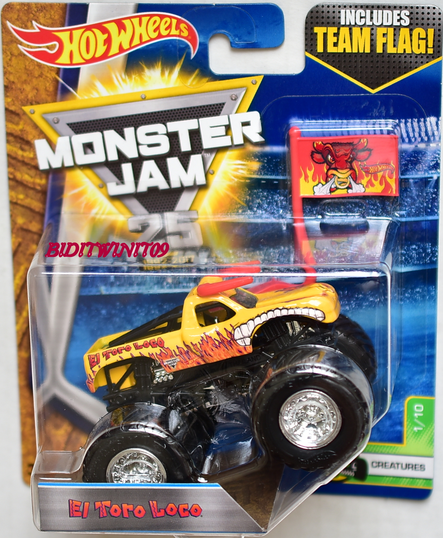 HOT WHEELS 2017 MONSTER JAM INCLUDES TEAM FLAG EL TORO LOCO CREATURES