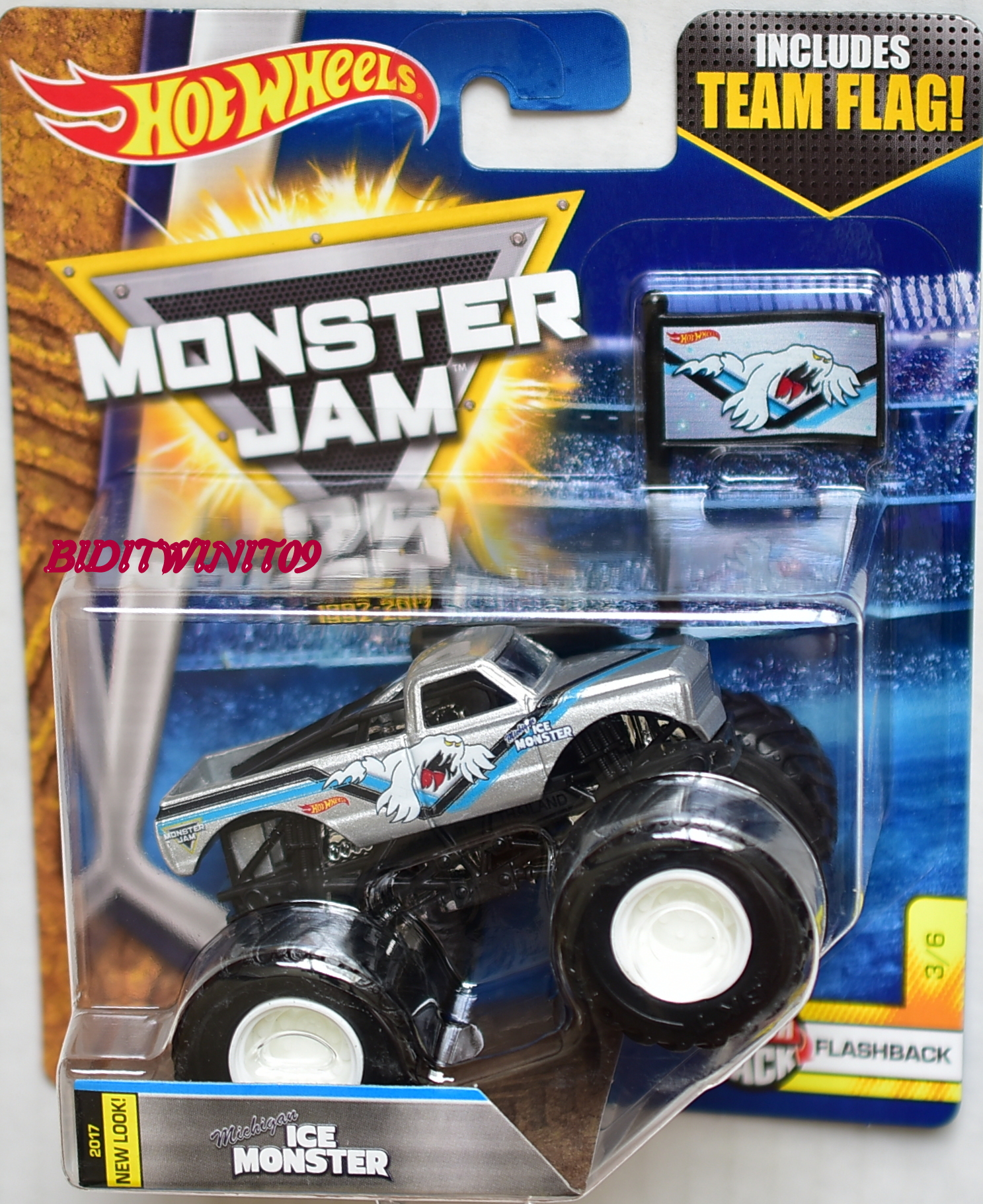 HOT WHEELS 2017 MONSTER JAM INCLUDES TEAM FLAG MICHIGAN ICE MONSTER NEW LOOK