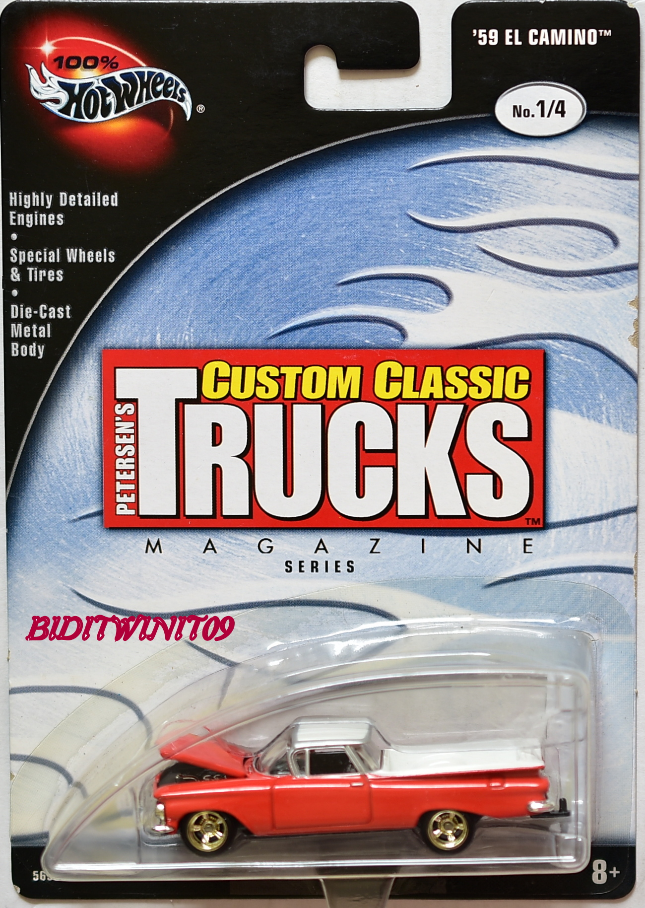 HOT WHEELS 100% CUSTOM CLASSIC TRUCKS '59 EL CAMINO #1/4 ORANGE E+