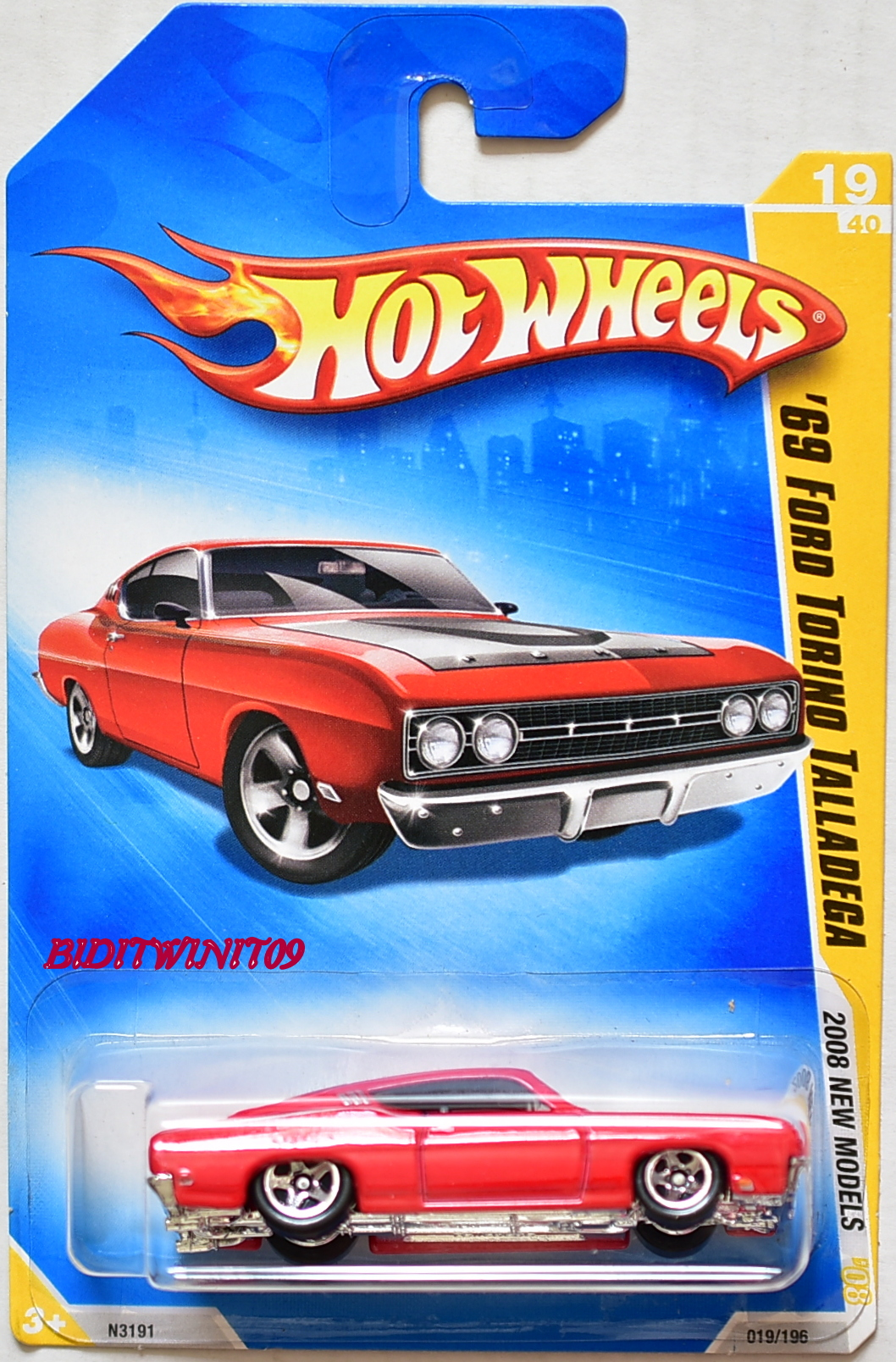 HOT WHEELS 2008 NEW MODELS '69 FORD TORINO TALLADEGA #19/40 RED