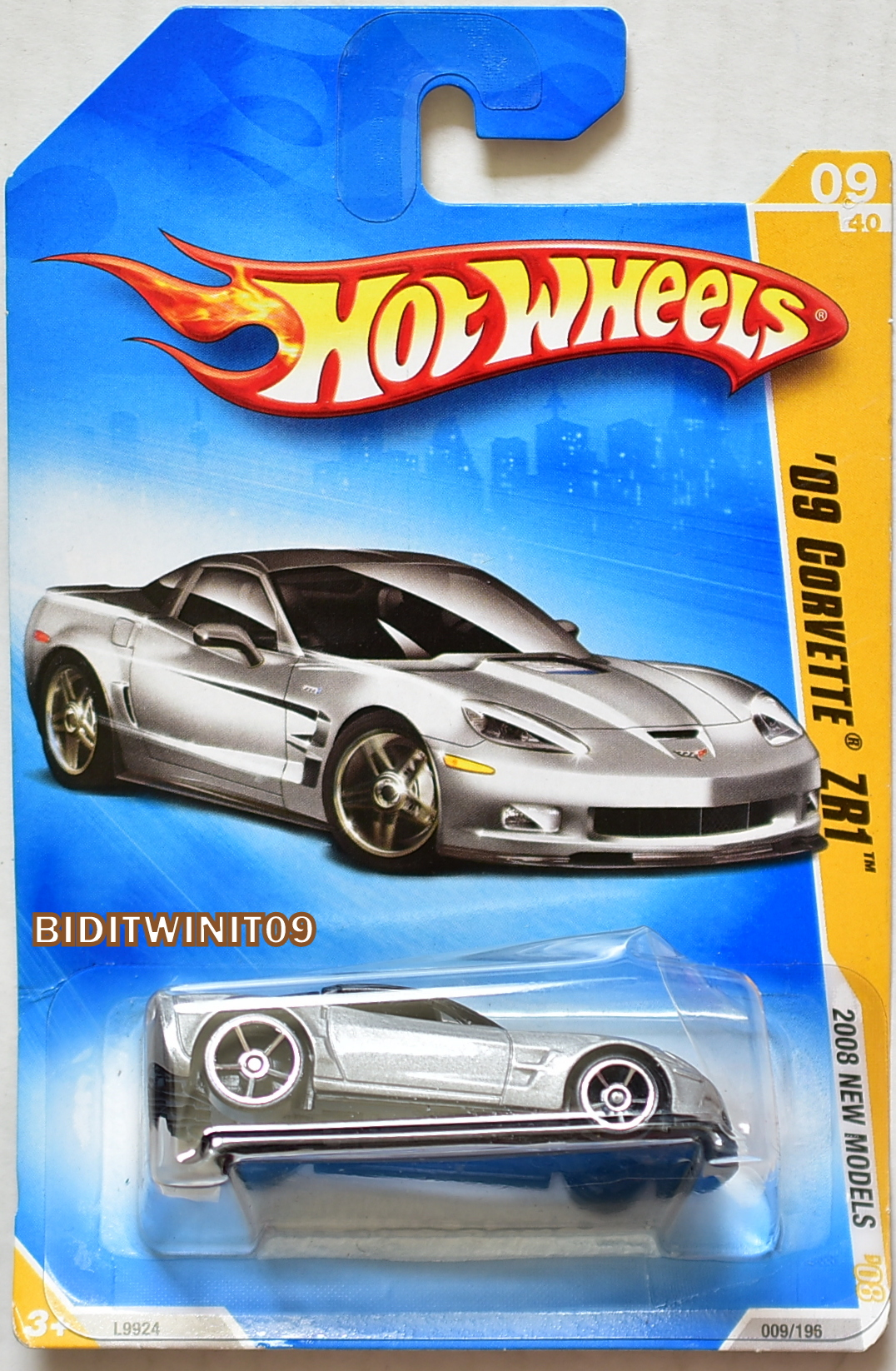 HOT WHEELS 2008 NEW MODELS '09 CORVETTE ZR1 #09/40 SILVER