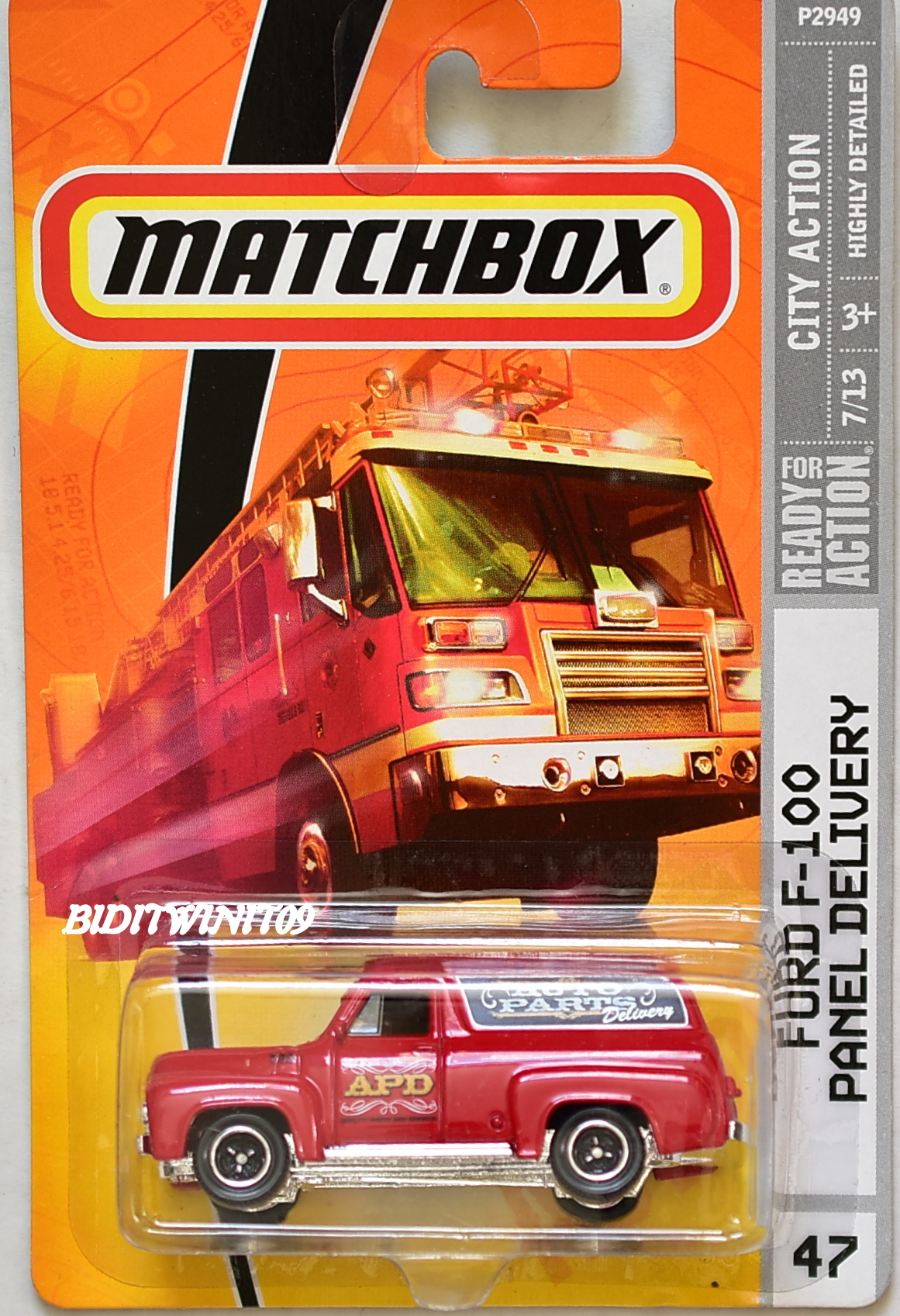 MATCHBOX 2009 CITY ACTION FORD F-100 PANEL DELIVERY #47 RED E+