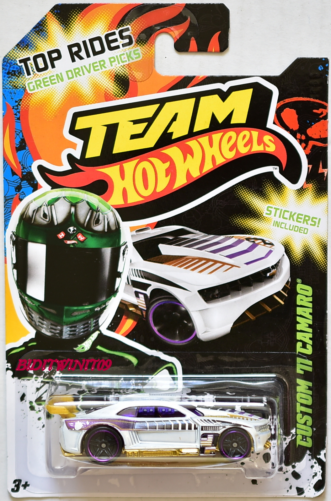 HOT WHEELS TEAM 2012 TOP RIDES CUSTOM '71 CAMARO WHITE E+