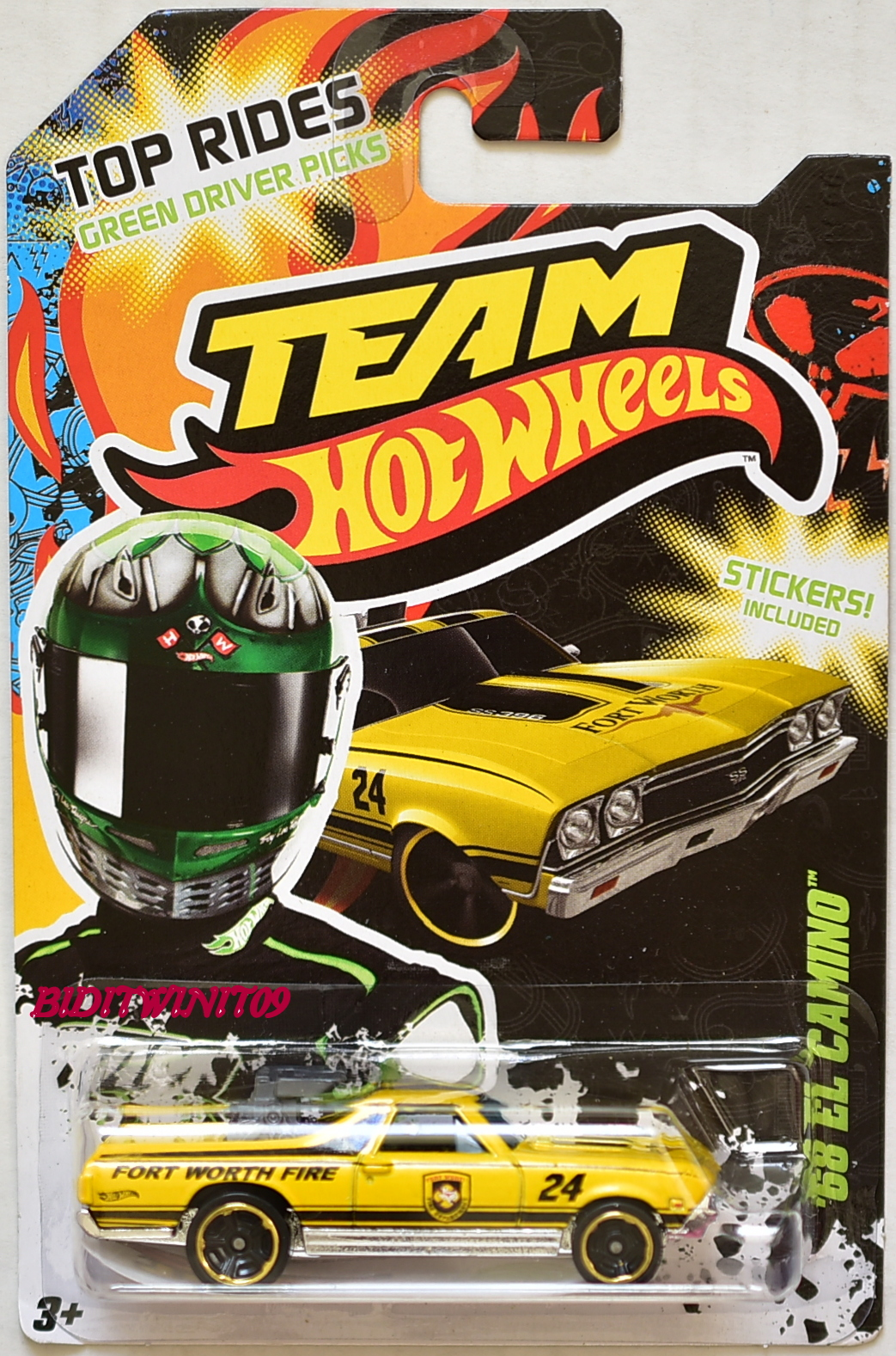 HOT WHEELS TEAM 2012 TOP RIDES '68 EL CAMINO YELLOW E+