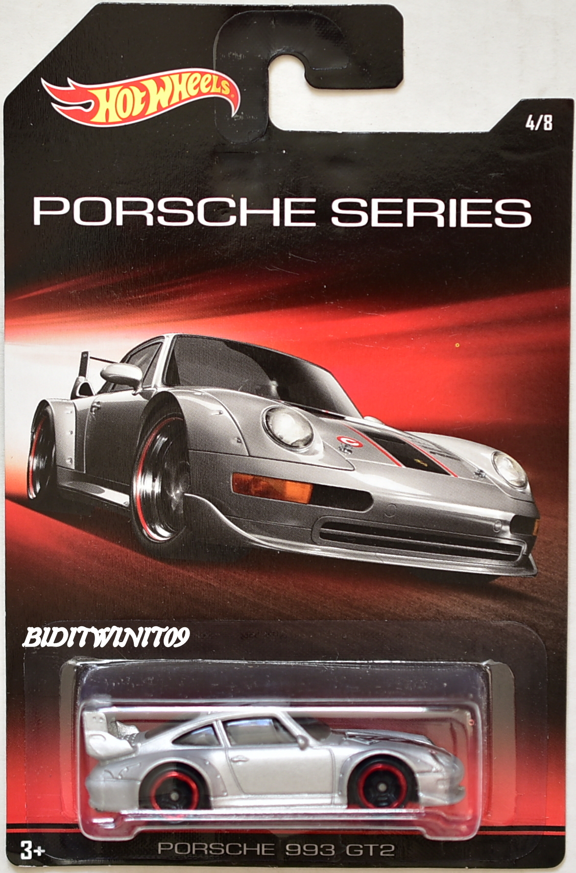 HOT WHEELS 2015 PORSCHE SERIES - PORSCHE 993 GT2 #4/8 SILVER E+