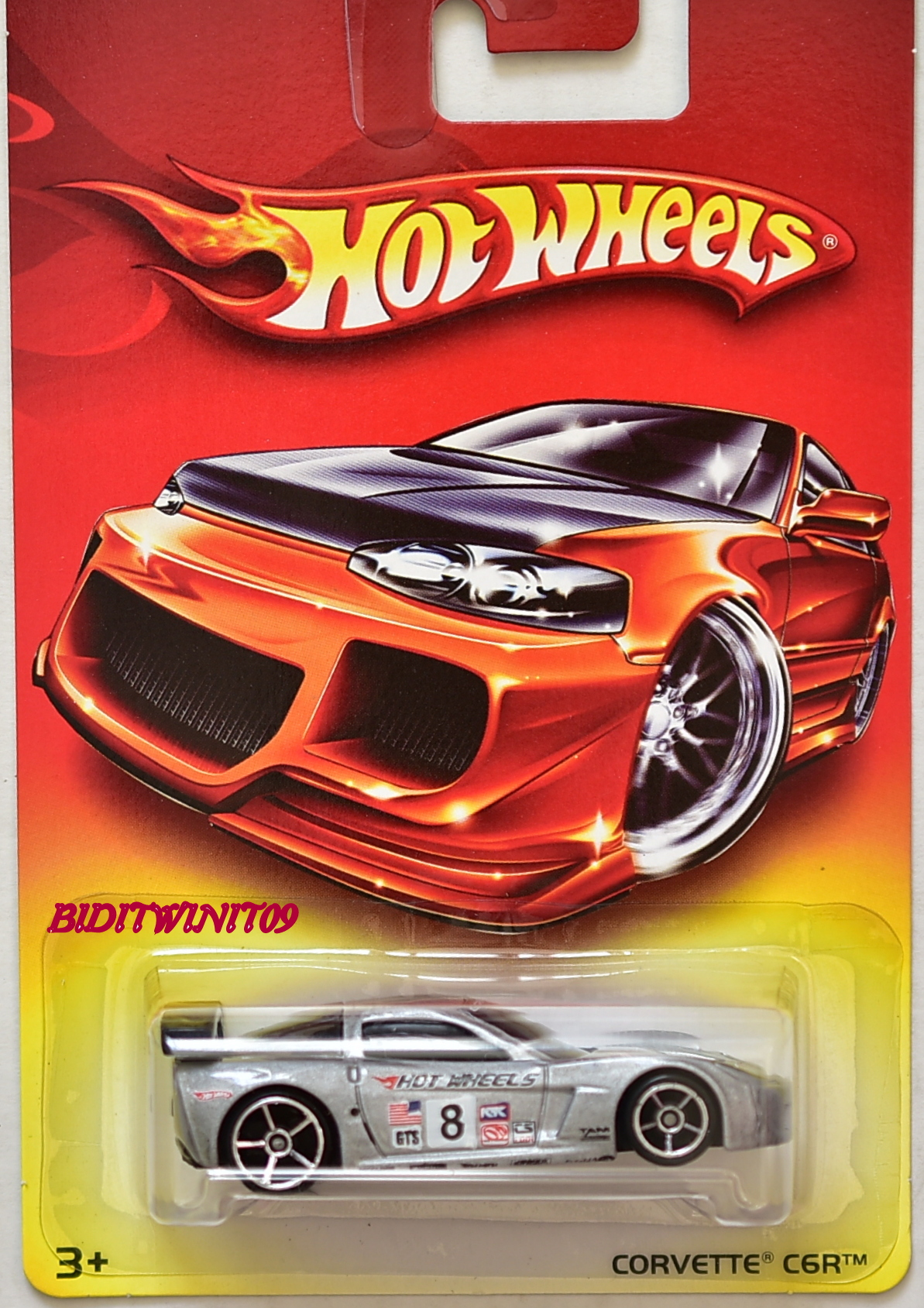 HOT WHEELS 2007 WALMART CORVETTE C6R SILVER E+