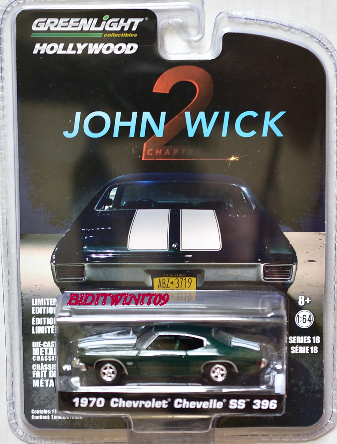 GREENLIGHT HOLLYWOOD SERIES 18 JOHN WICK 2 1970 CHEVROLET CHEVELLE SS 396