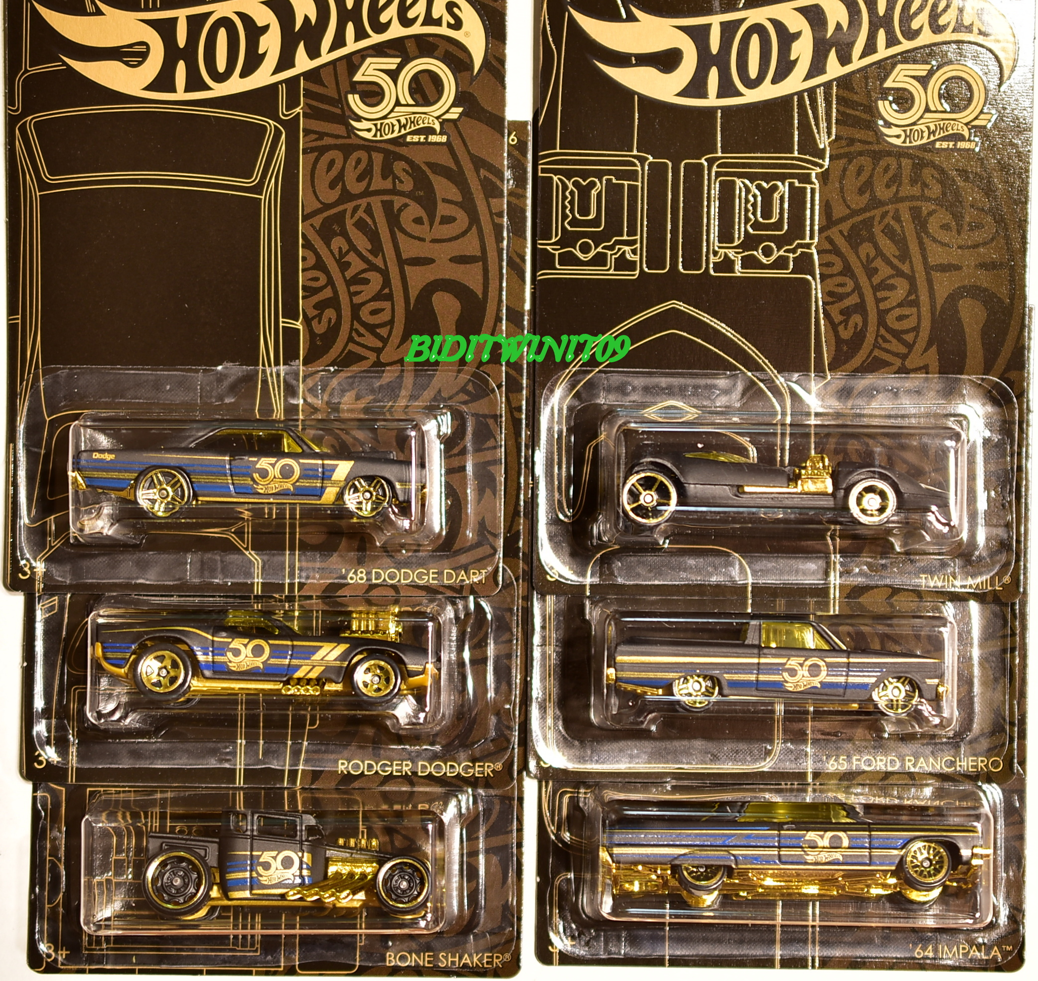 HOT WHEELS 2018 50th ANNIVERSARY BLACK & GOLD SET OF 6 BONE SHAKER DODGE FORD