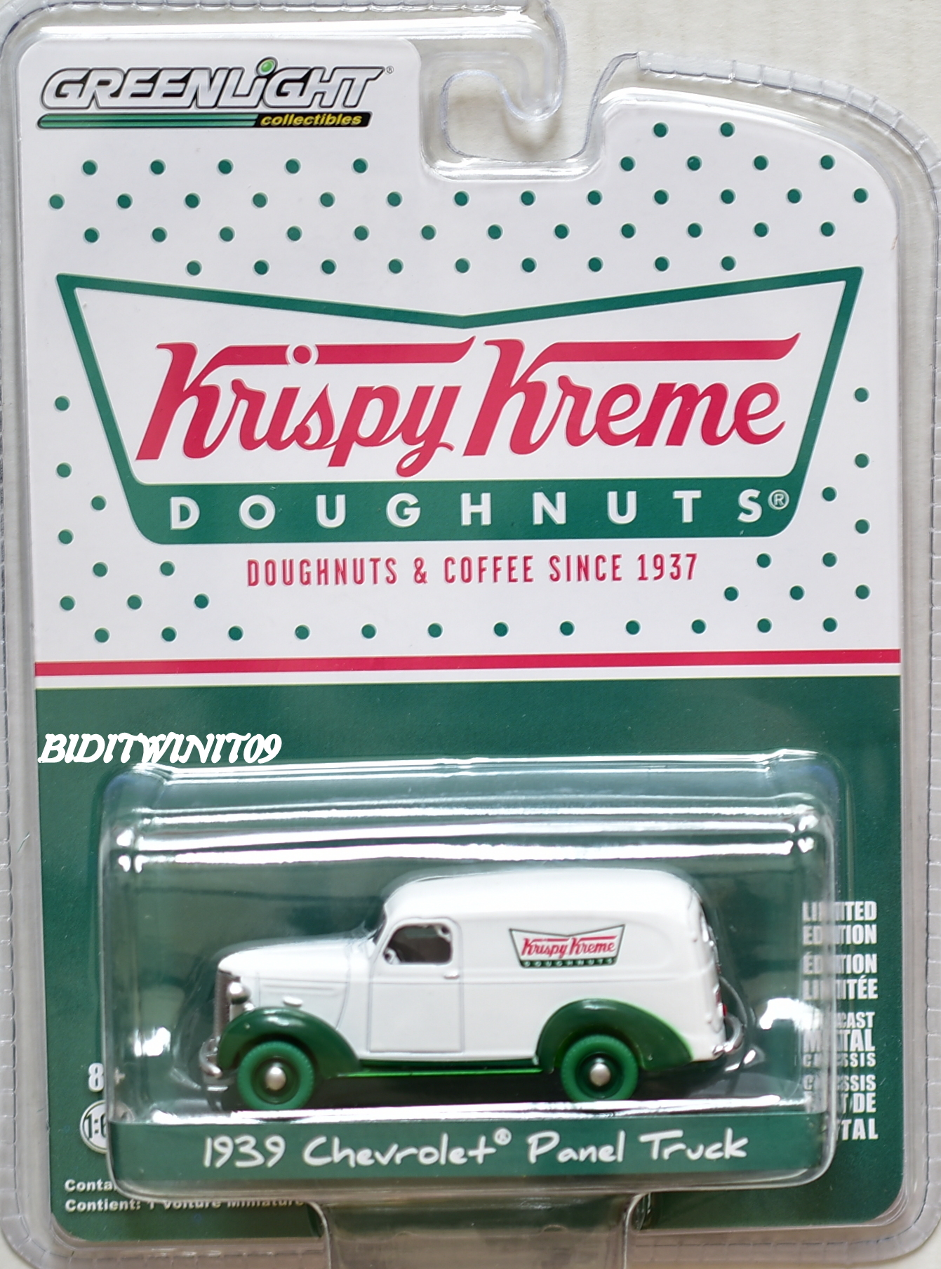GREENLIGHT KRISPY KREME DOUGHNUTS 1939 CHEVROLET PANEL TRUCK GREEN MACHINE E+