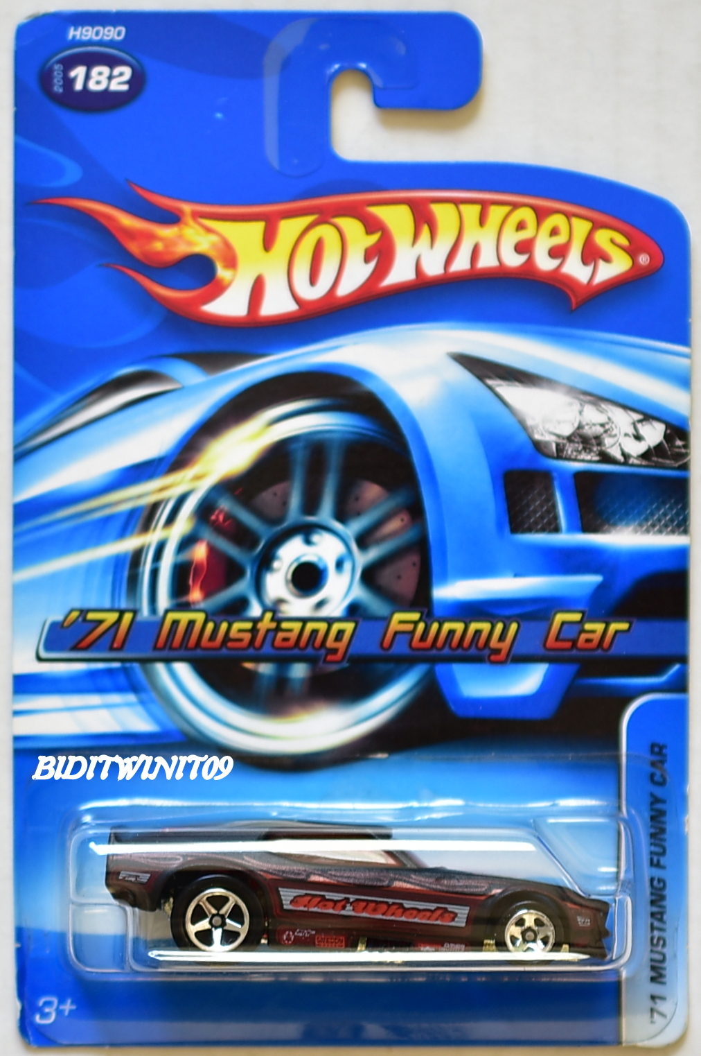 HOT WHEELS 2005 '71 MUSTANG FUNNY CAR #182 BLACK & RED E+
