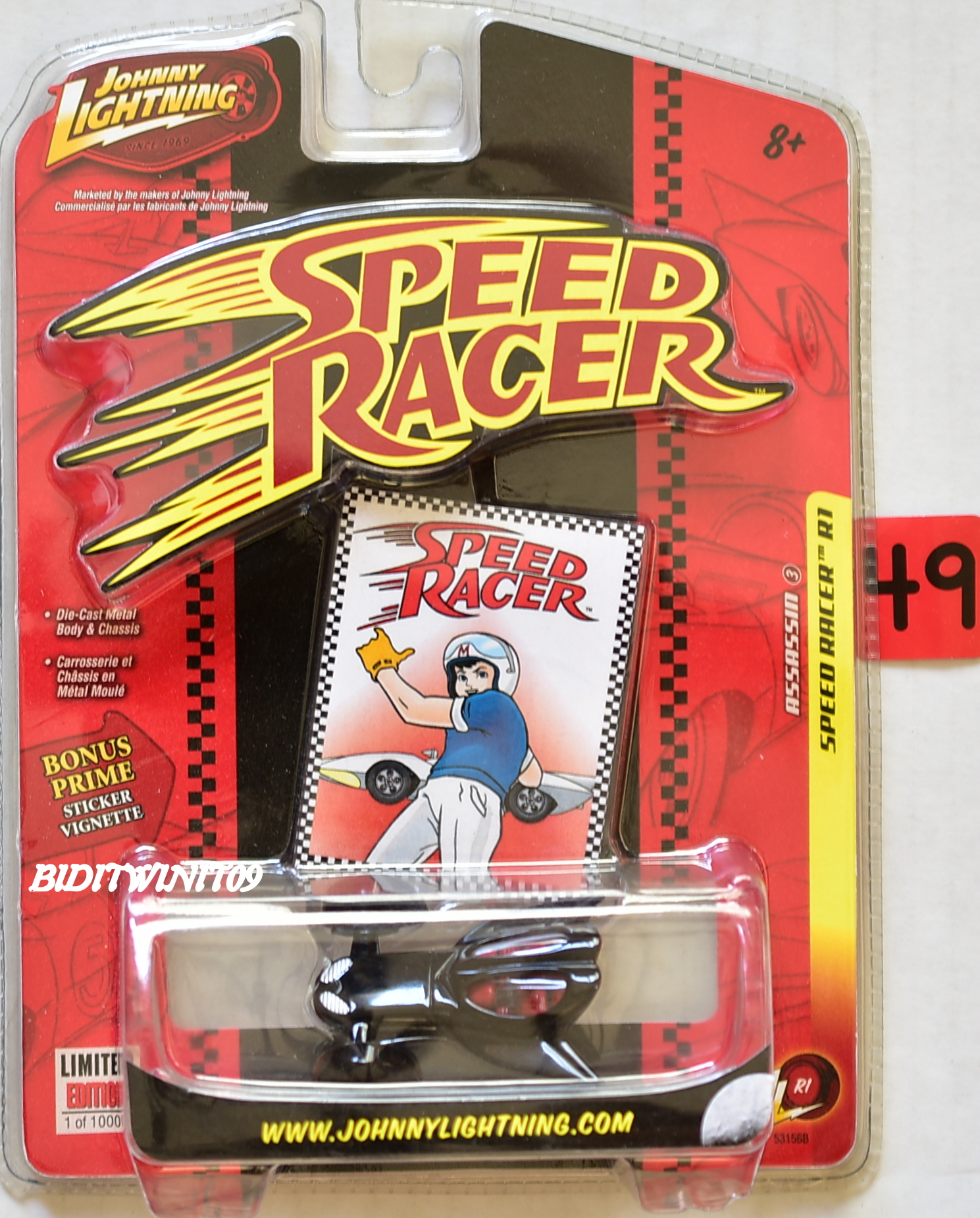 JOHNNY LIGHTNING SPEED RACER R1 - THE ASSASSIN BONUS PRIME STICKER