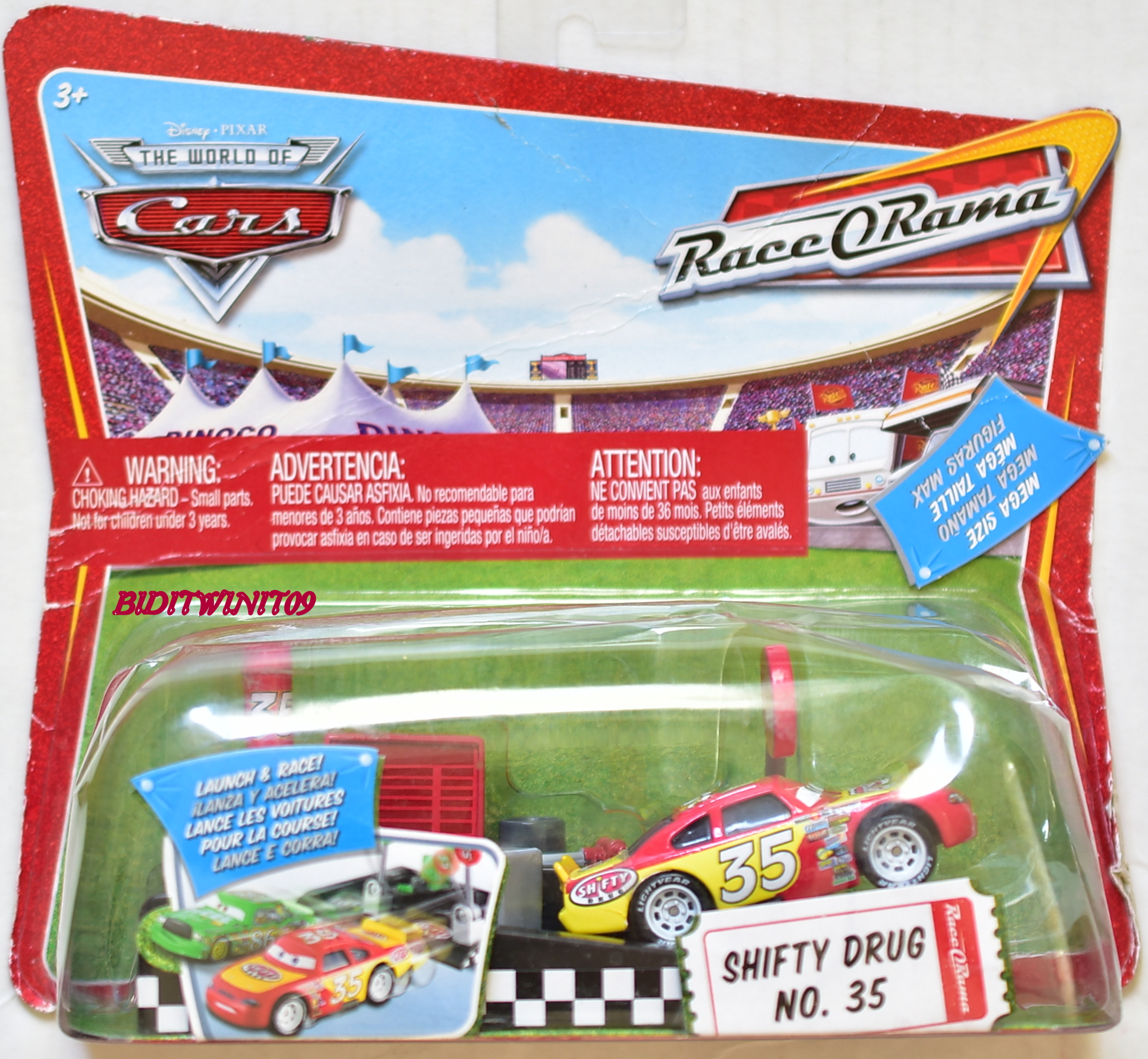 DISNEY PIXAR THE WORLD OF CARS RACE ORAMA LAUNCH & RACE SHIFTY DRUG #35 E+