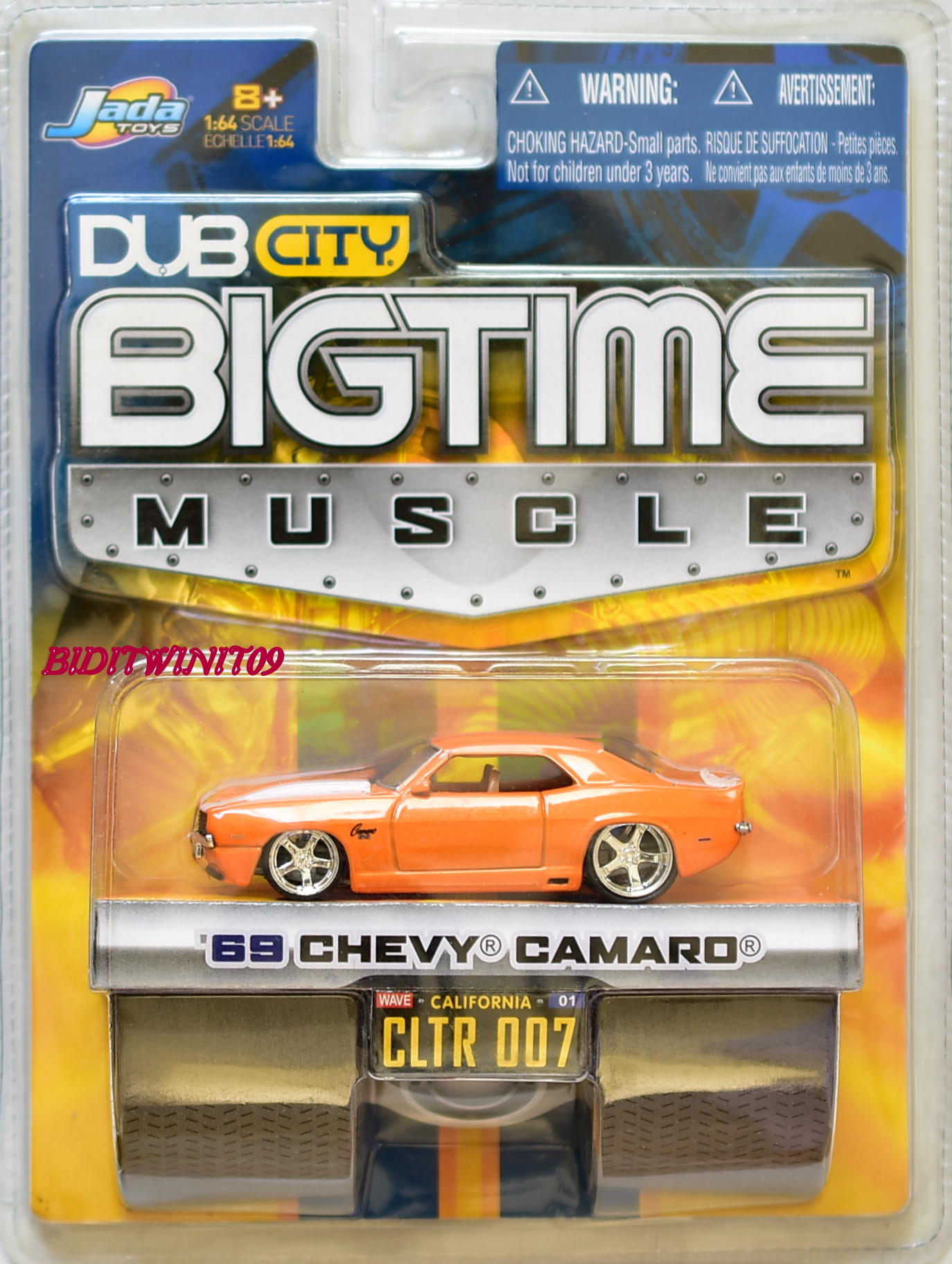 JADA TOYS DUB CITY BIGTIME MUSCLE '69 CHEVY CAMARO CLTR 007 ORANGE E+