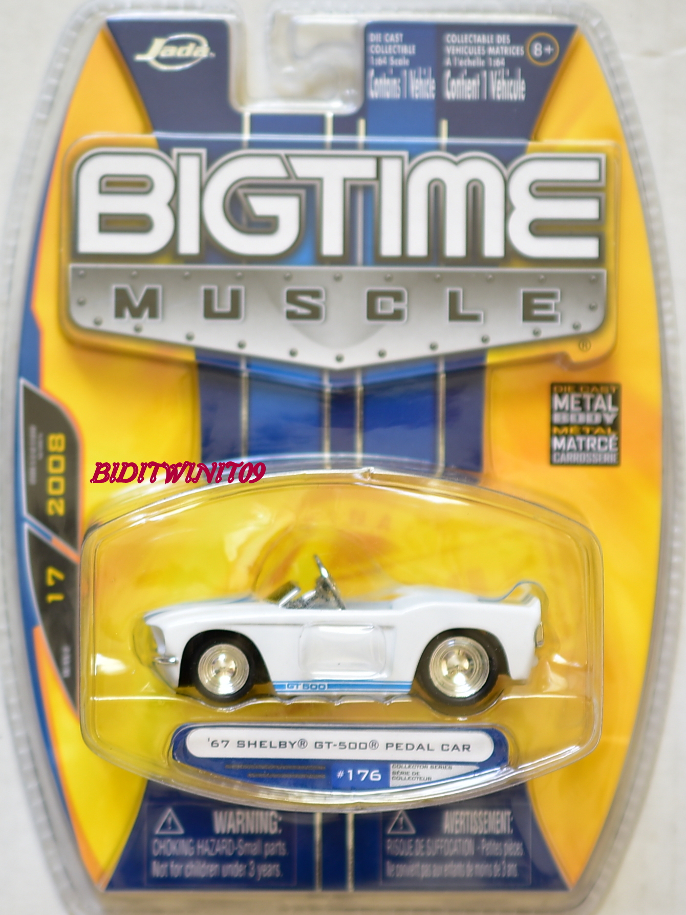 JADA BIGTIME MUSCLE '67 SHELBY GT-500 PEDAL CAR #176 WHITE E+