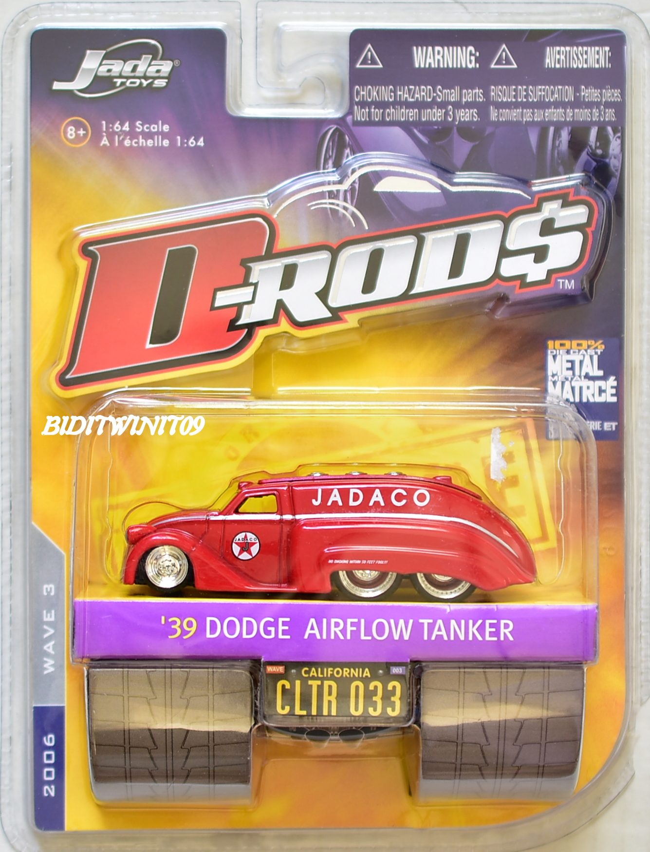 JADA TOYS 2006 D-RODS '39 DODGE AIRFLOW TANKER WAVE 3 CLTR 033 RED E+