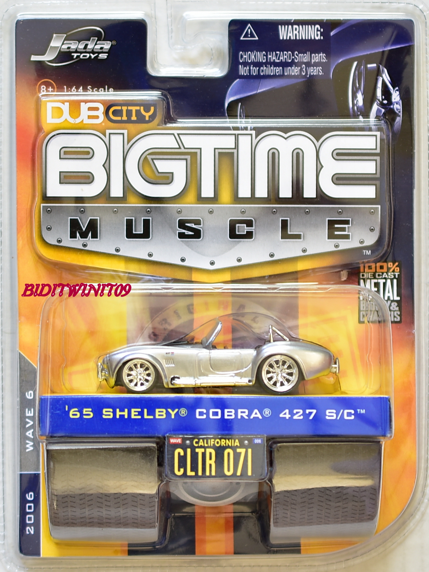 JADA TOYS DUB CITY BIGTIME MUSCLE '65 SHELBY COBRA 427 S/C CLTR 071 SILVER E+