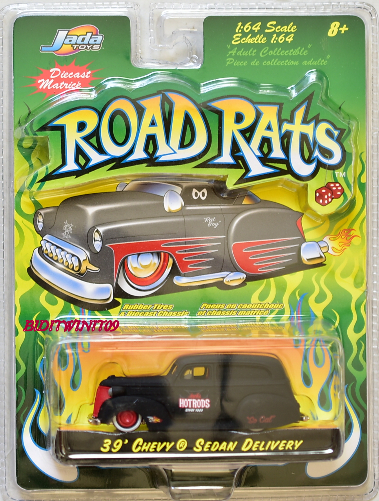 JADA TOYS ROAD RATS DIE CAST CAR 1:64 39' CHEVY SEDAN DELIVERY BLACK E+