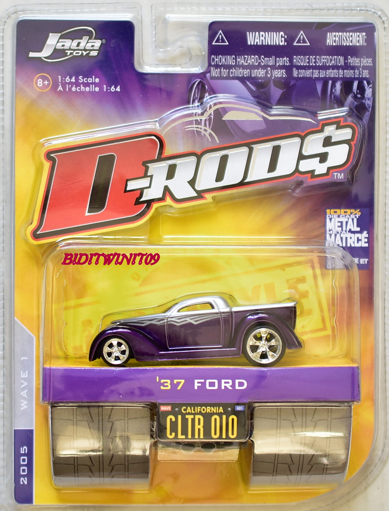JADA TOYS 2005 WAVE 1 D-RODS '37 FORD CLTR 010 PURPLE E+