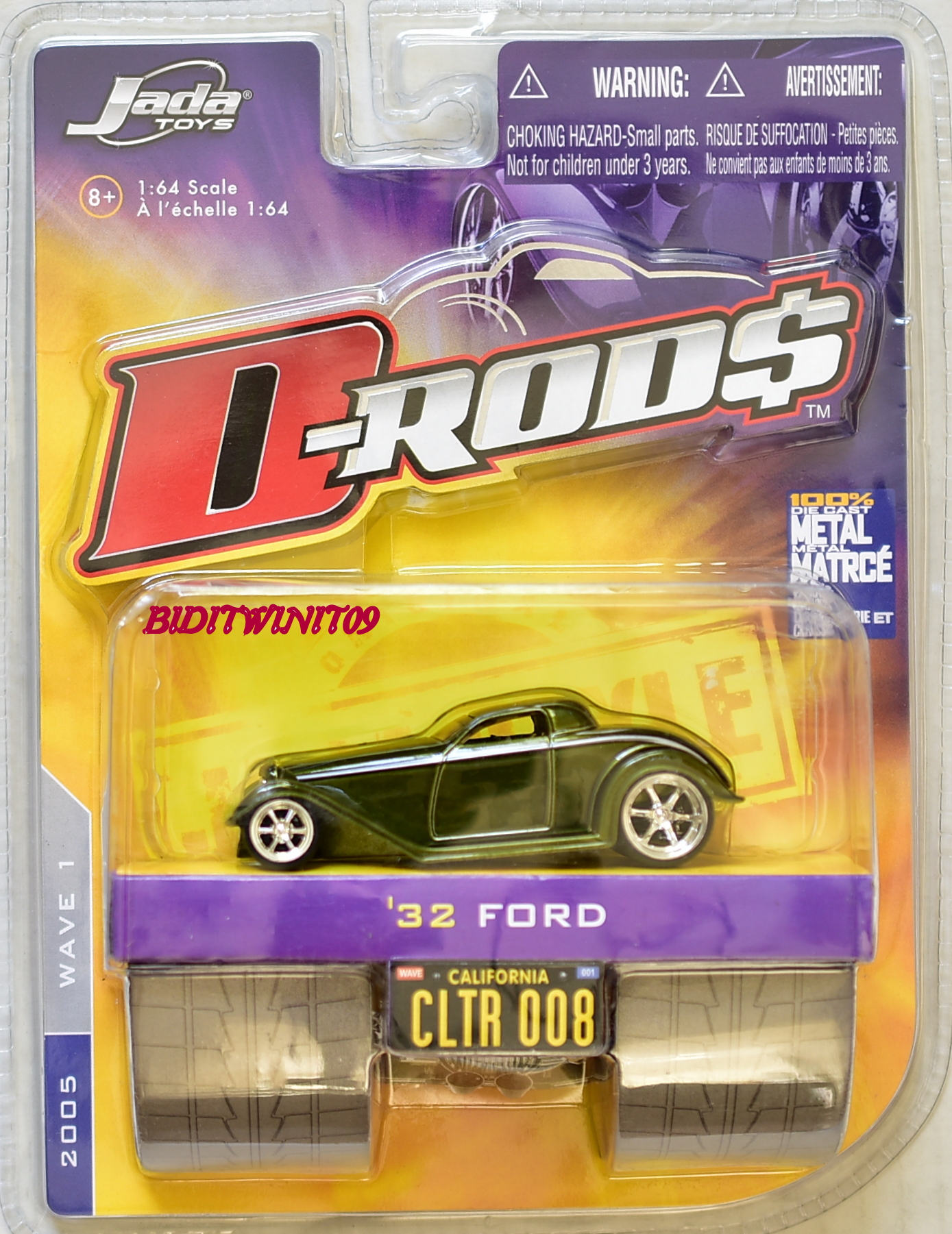 JADA TOYS D-RODS 2005 WAVE 1 1:64 SCALE '32 FORD CLTR 008 GREEN