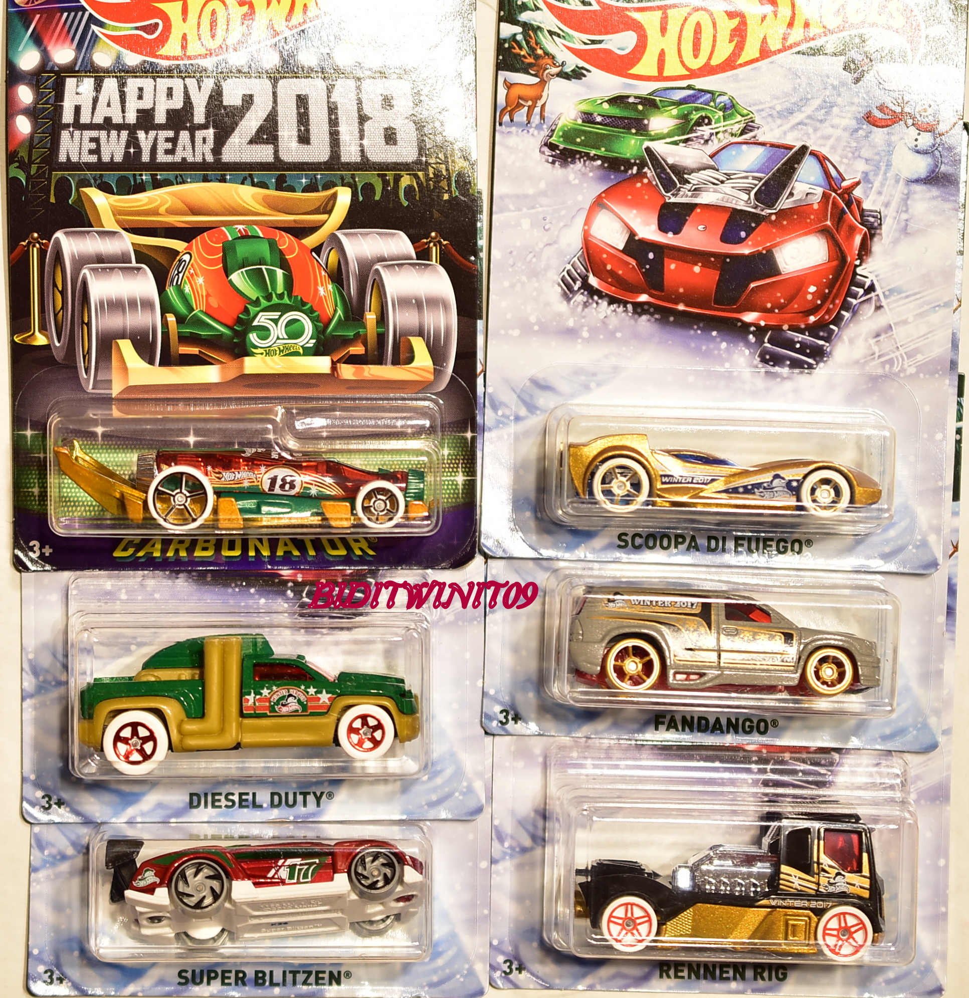 HOT WHEELS 2017 HOLIDAY HOT RODS SET OF 6 INCLUDES NEW YEAR